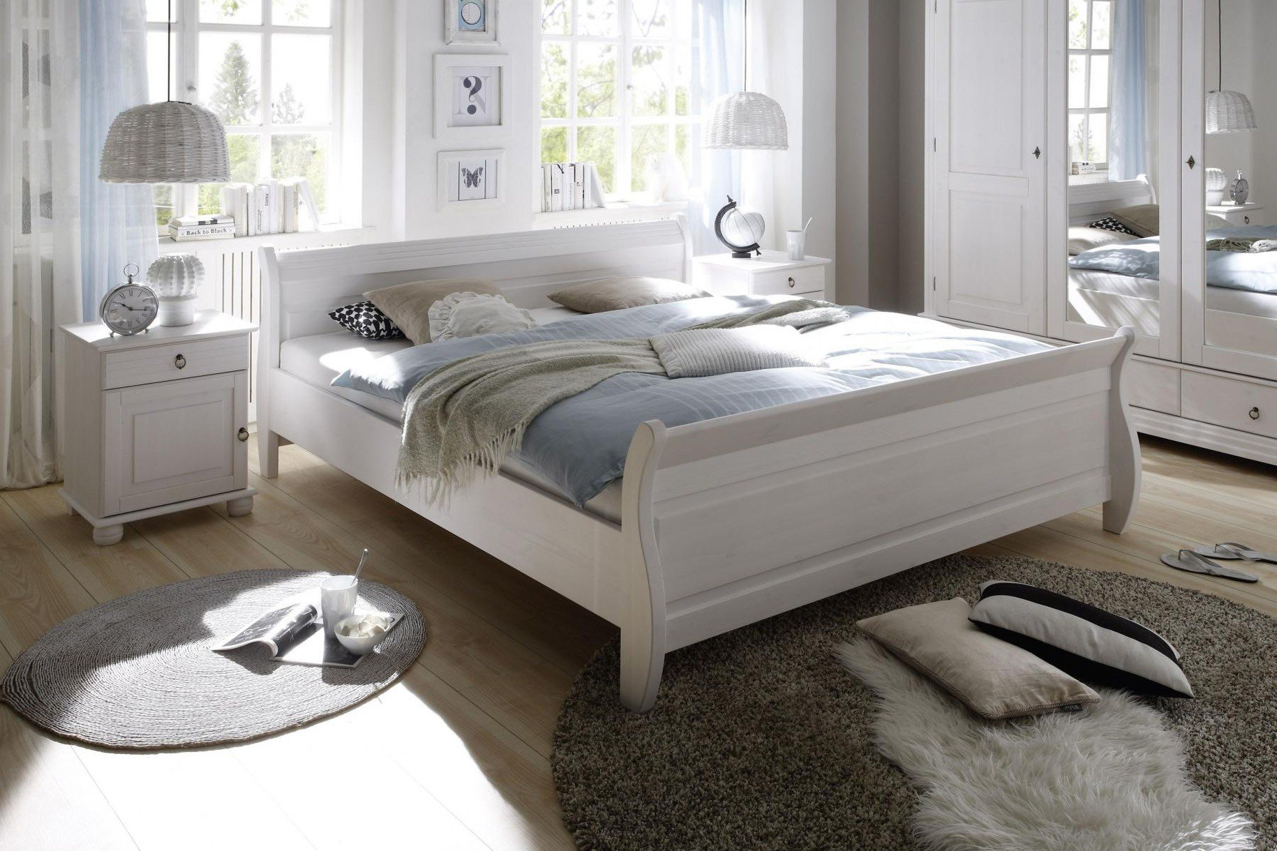 pol power oslo landhaus bett wei massiv m bel letz ihr online shop. Black Bedroom Furniture Sets. Home Design Ideas