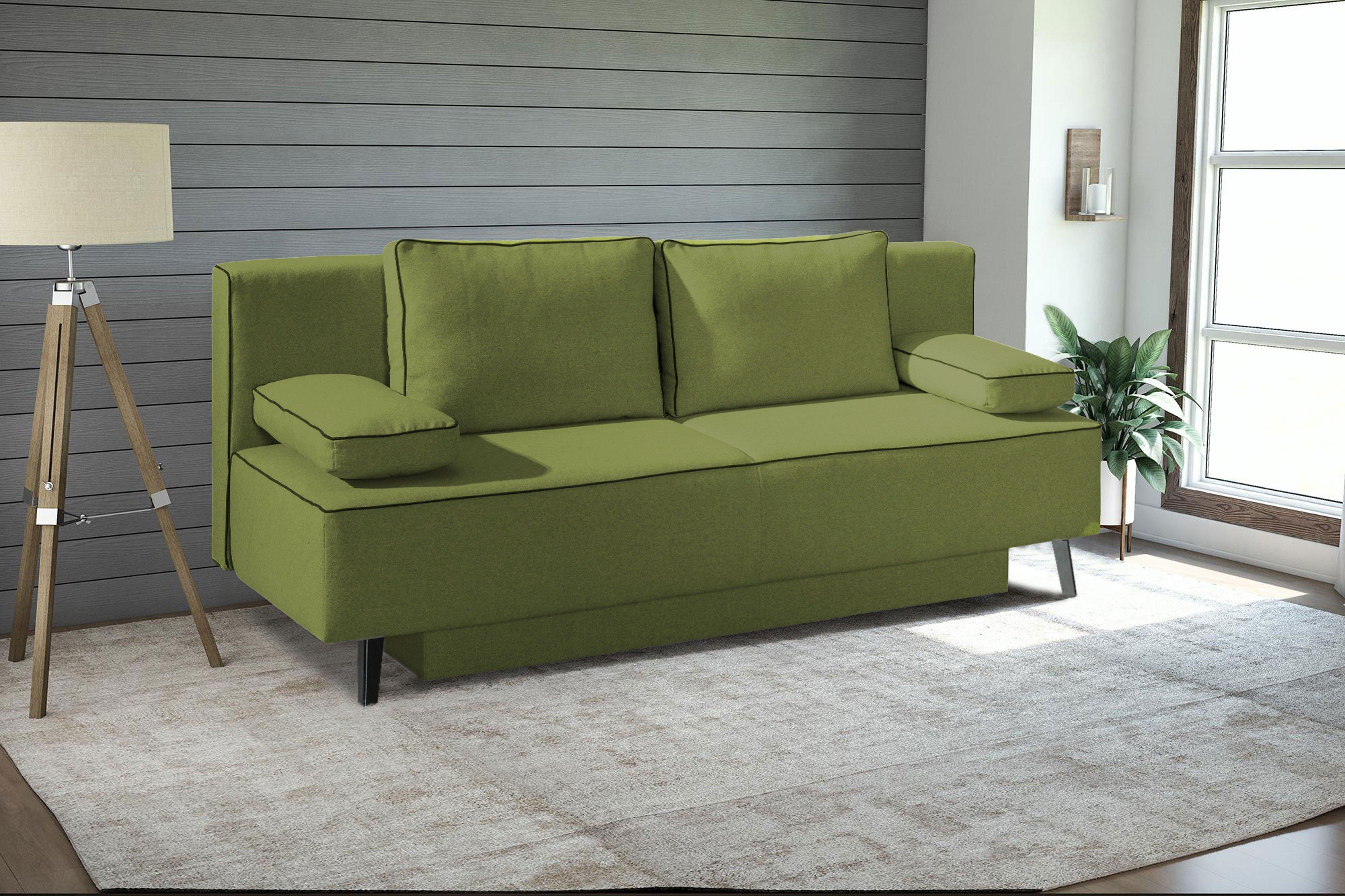 restyl schlafsofa chuck kansas in gr n mit keder schwarz. Black Bedroom Furniture Sets. Home Design Ideas