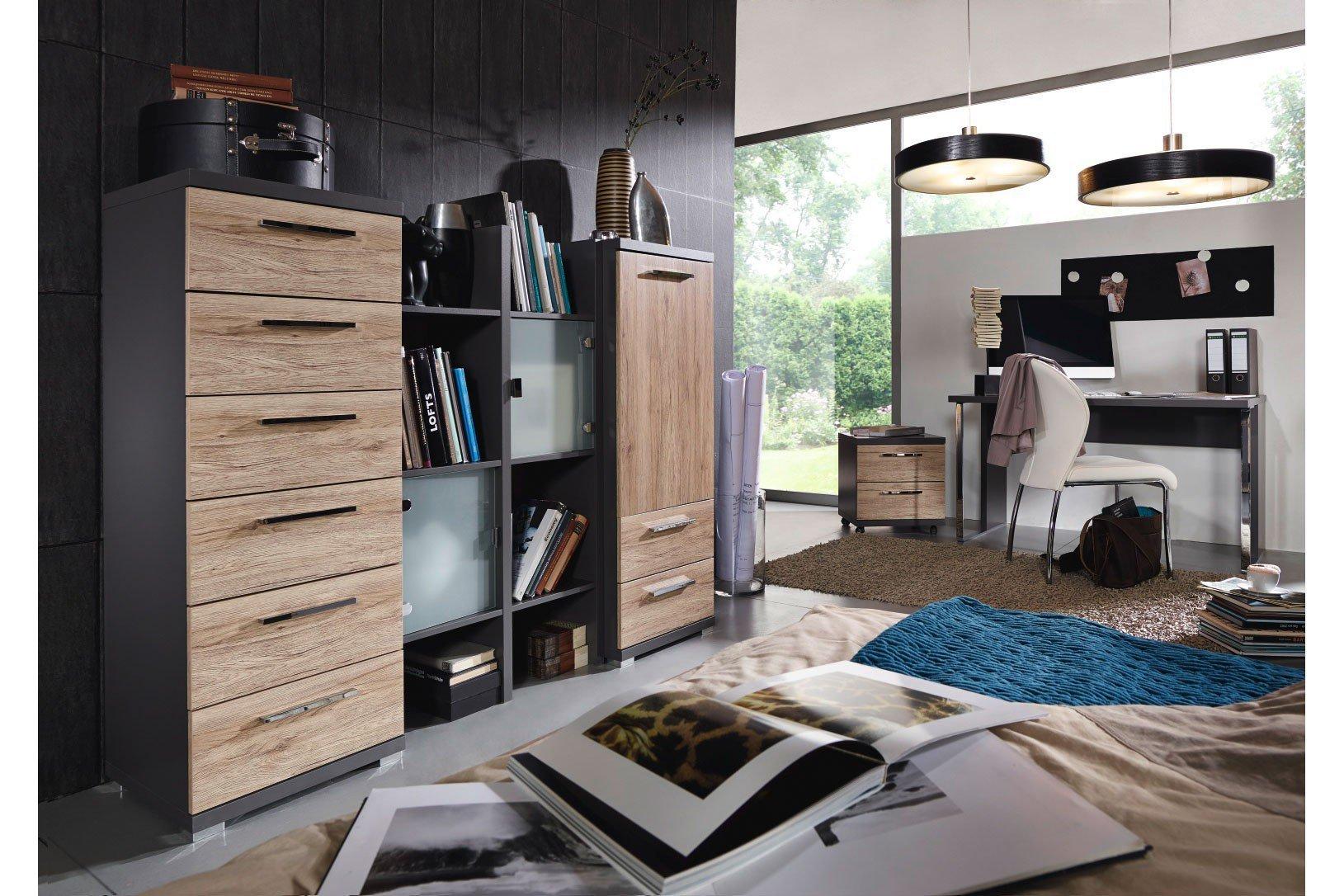 rauch wohnwand nice4home graphit eiche hell m bel letz ihr online shop. Black Bedroom Furniture Sets. Home Design Ideas