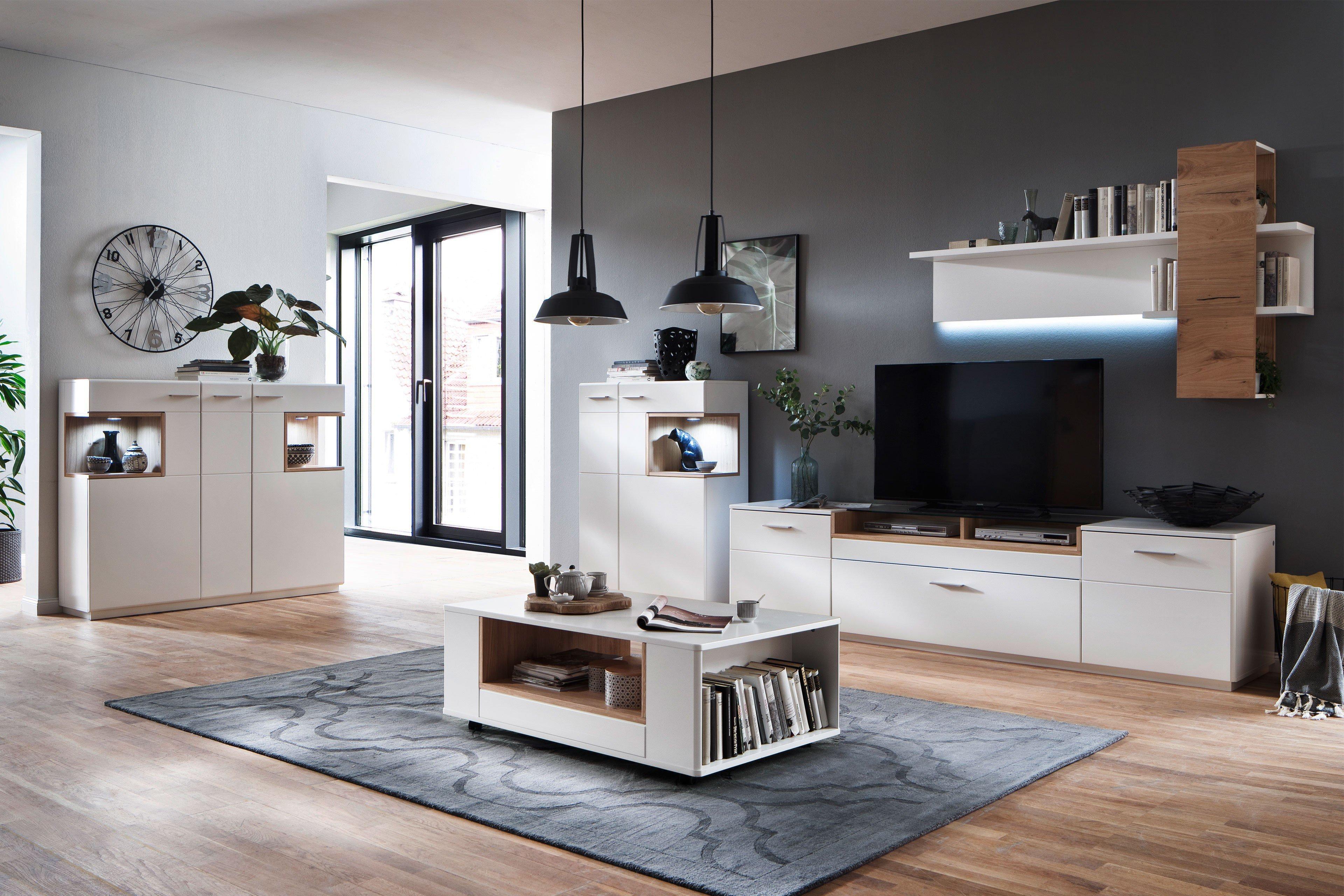 mca wohnwand cesina wei matt asteiche ge lt m bel letz ihr online shop. Black Bedroom Furniture Sets. Home Design Ideas