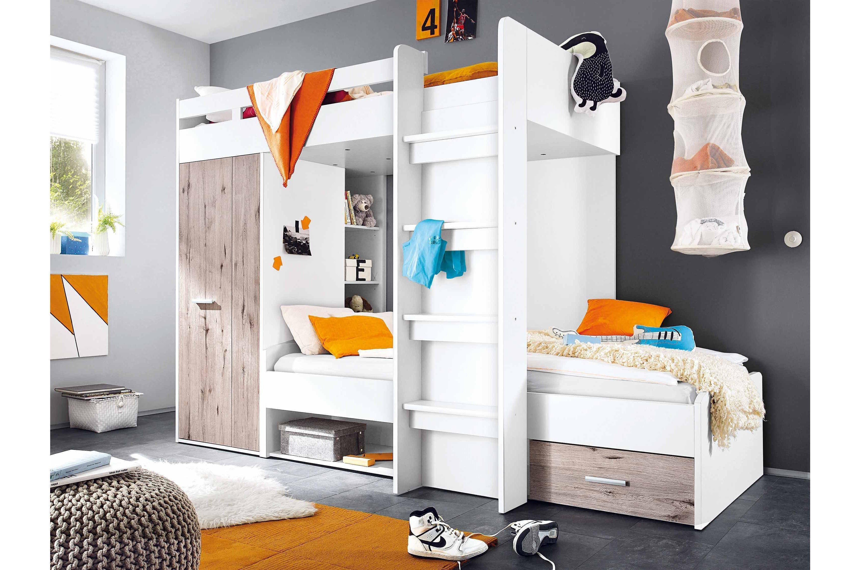 Etagenbett Mit Schrank : Begabino maxi hochbett mit liegeflächen weiß möbel letz ihr