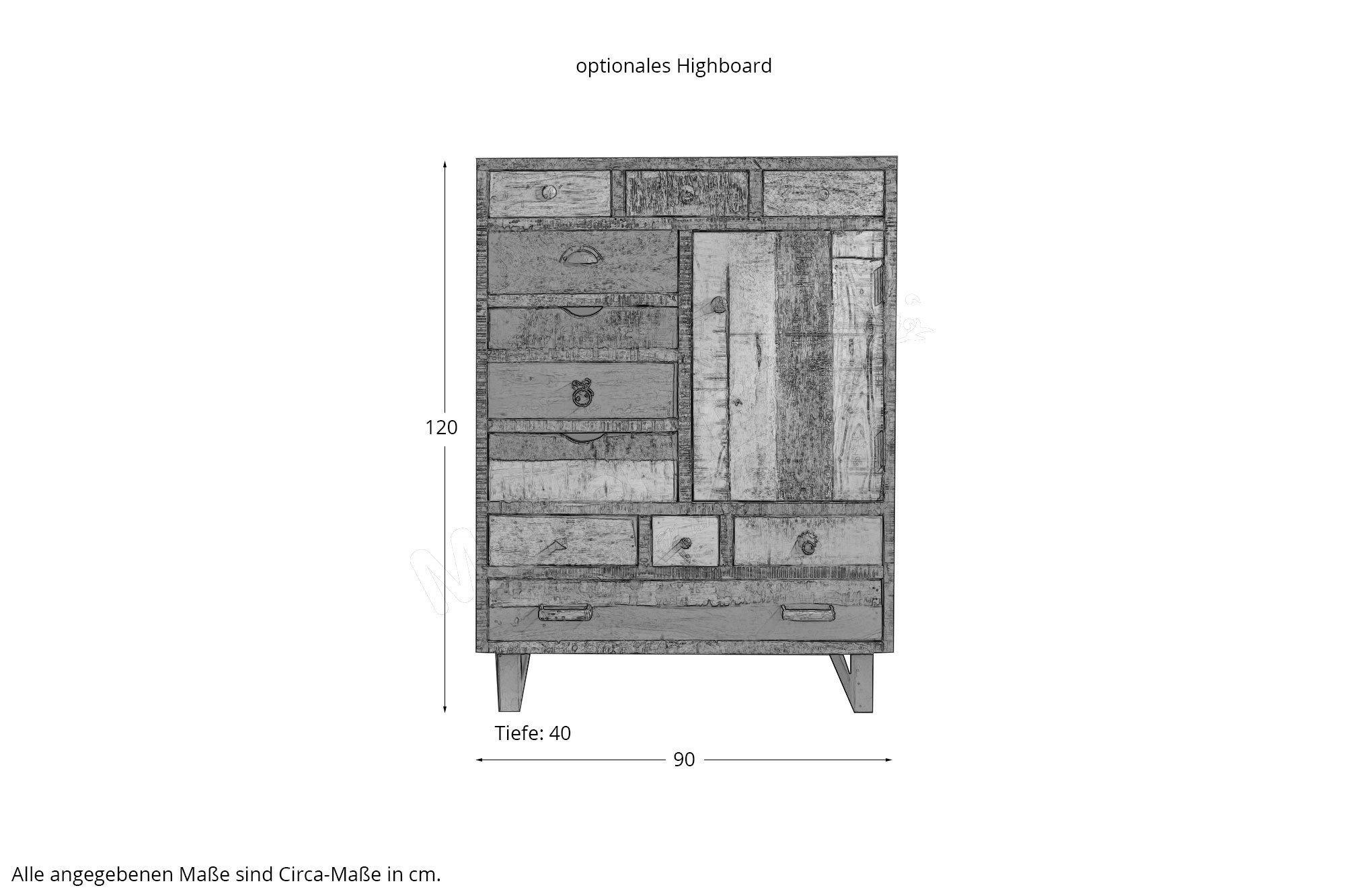 wohn gl ck lich tv lowboard priya mangoholz vintage. Black Bedroom Furniture Sets. Home Design Ideas