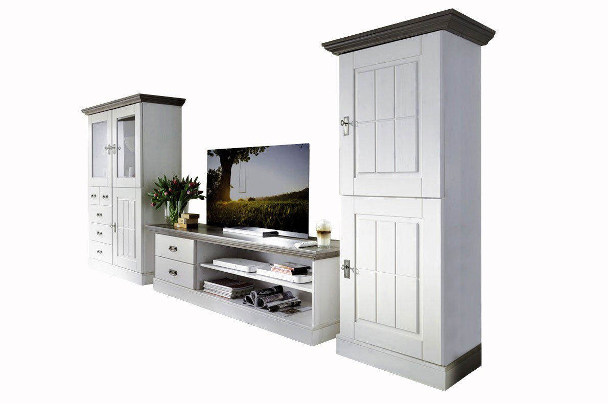 pure natur wohnwand agnita kiefer wei grau m bel letz ihr online shop. Black Bedroom Furniture Sets. Home Design Ideas