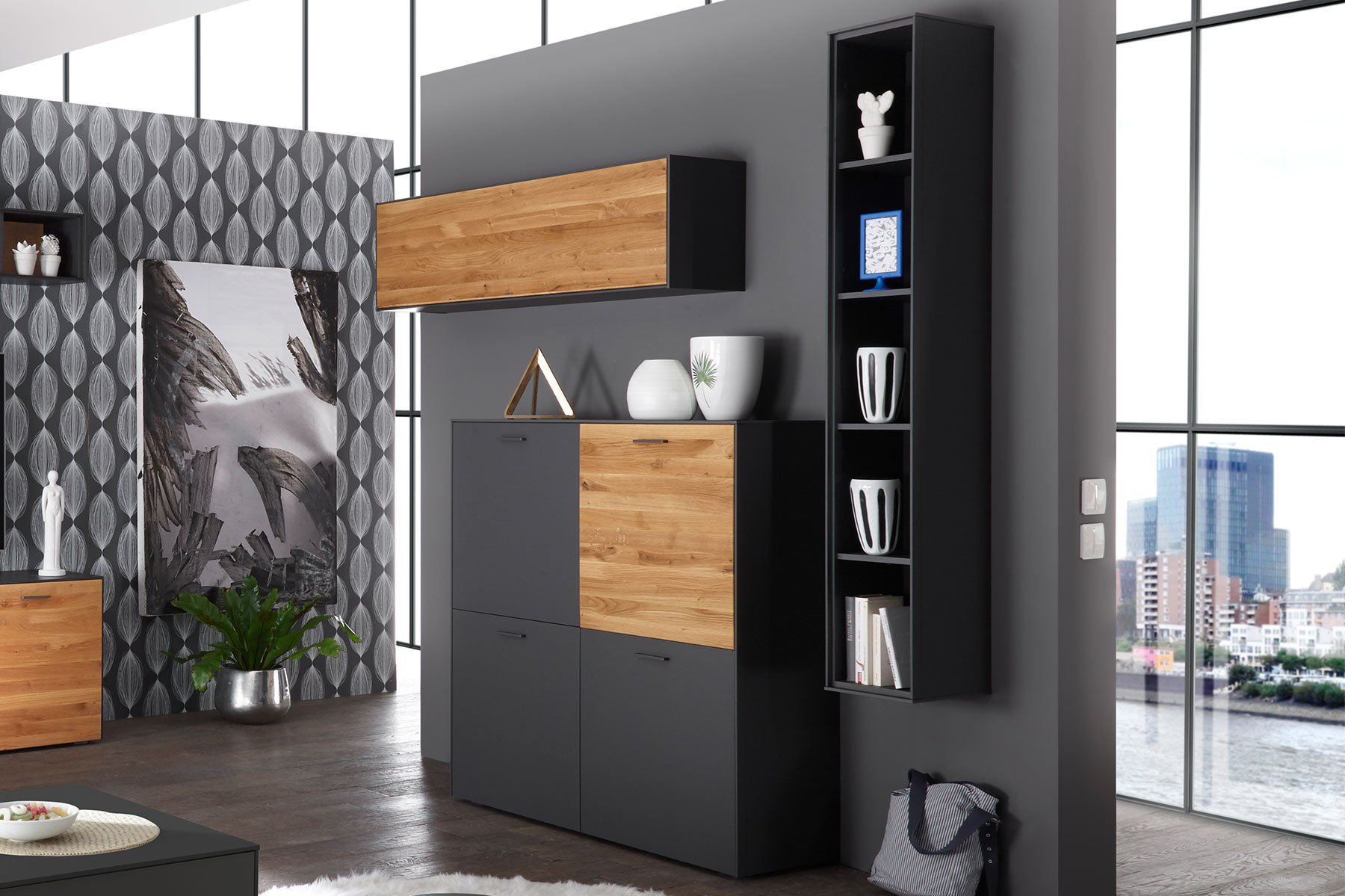 highboard ensemble arizona in anthrazit matt wildeiche. Black Bedroom Furniture Sets. Home Design Ideas