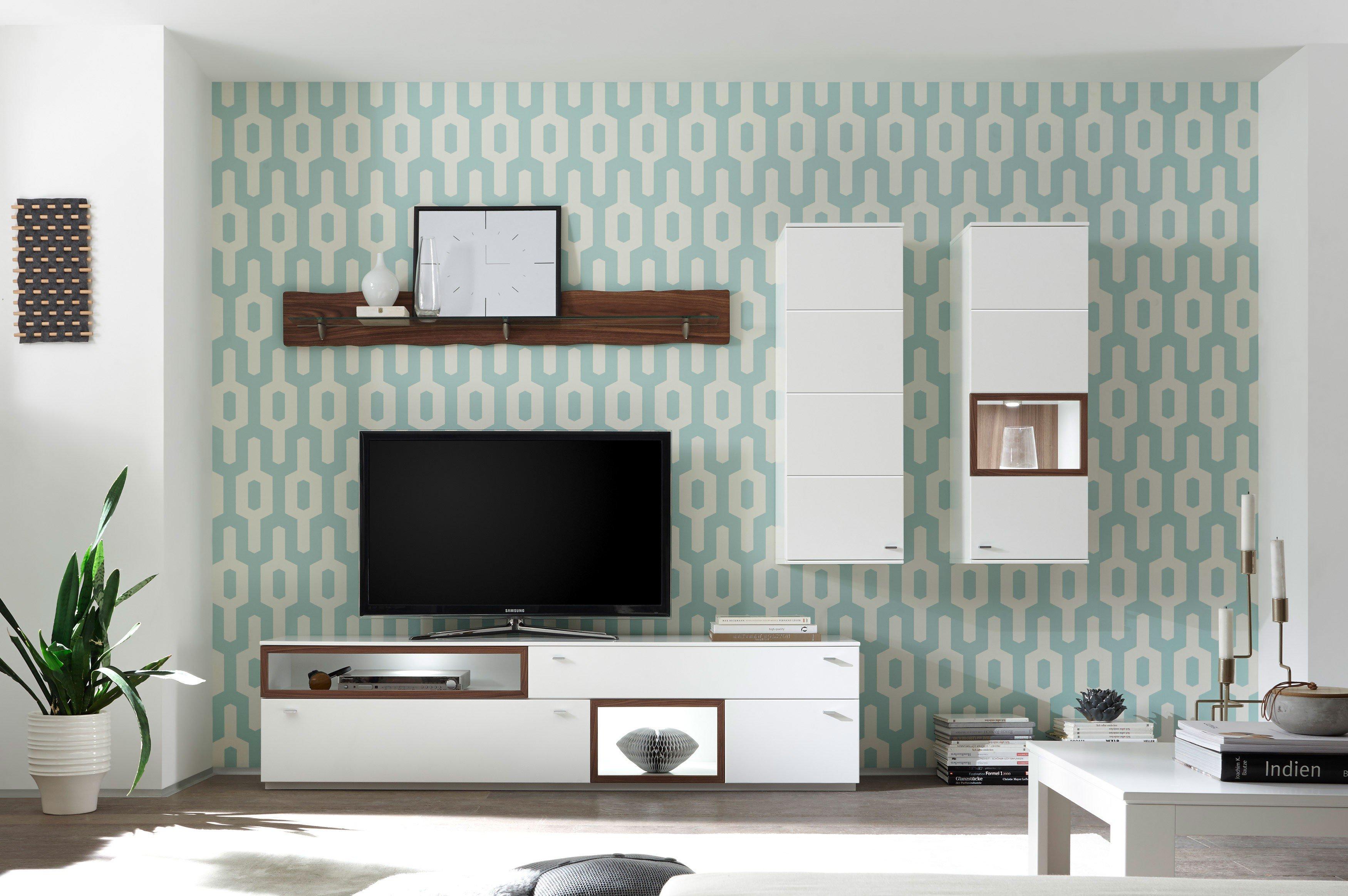 Quadrato Wohnwand Milano weiß/ Nussbaum | Möbel Letz - Ihr Online-Shop