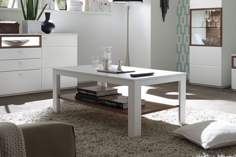 Quadrato Couchtisch Milano weiß/ Nussbaum | Möbel Letz - Ihr Online-Shop