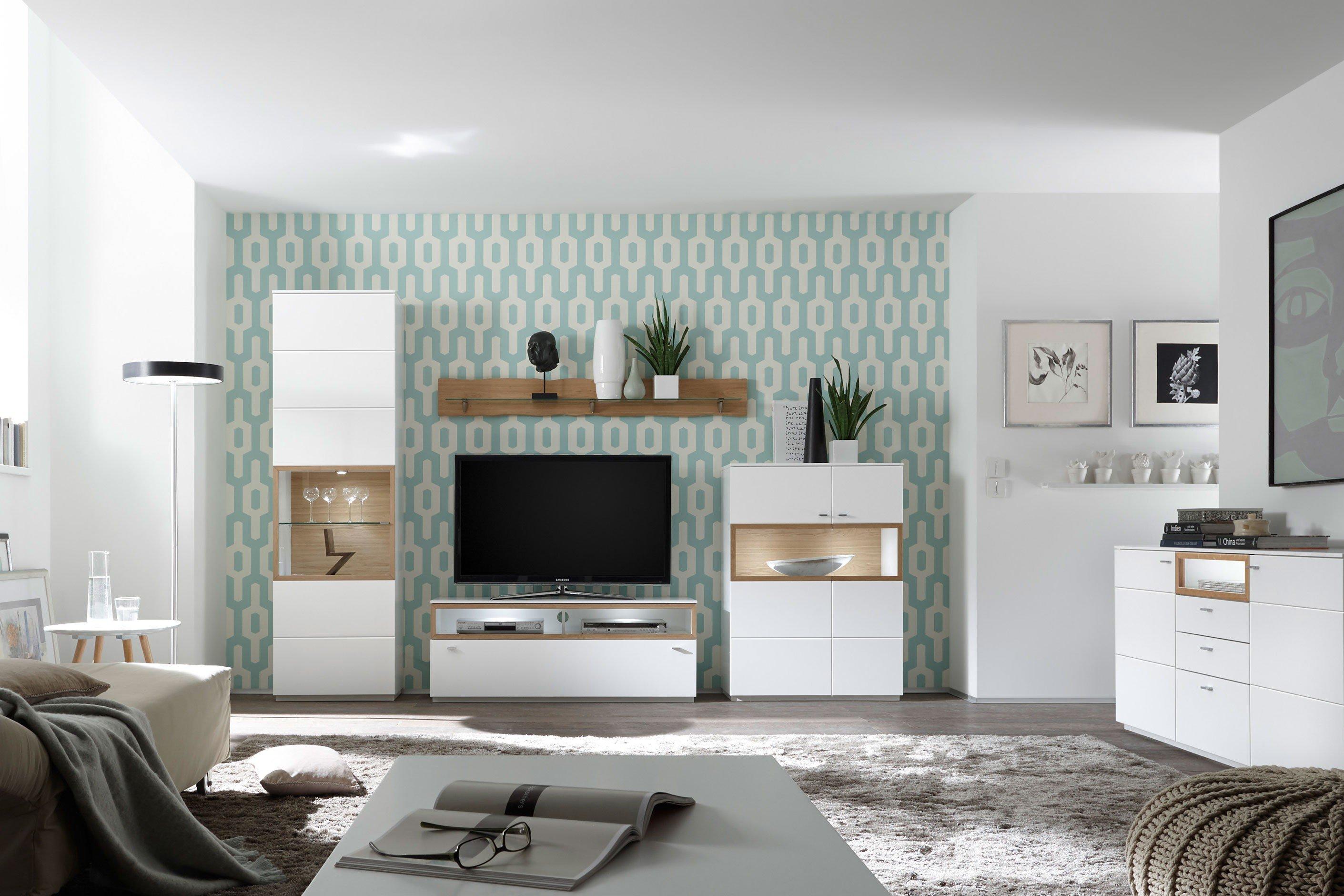 Quadrato Wohnwand Milano weiß/ Wildeiche bianco | Möbel Letz - Ihr ...
