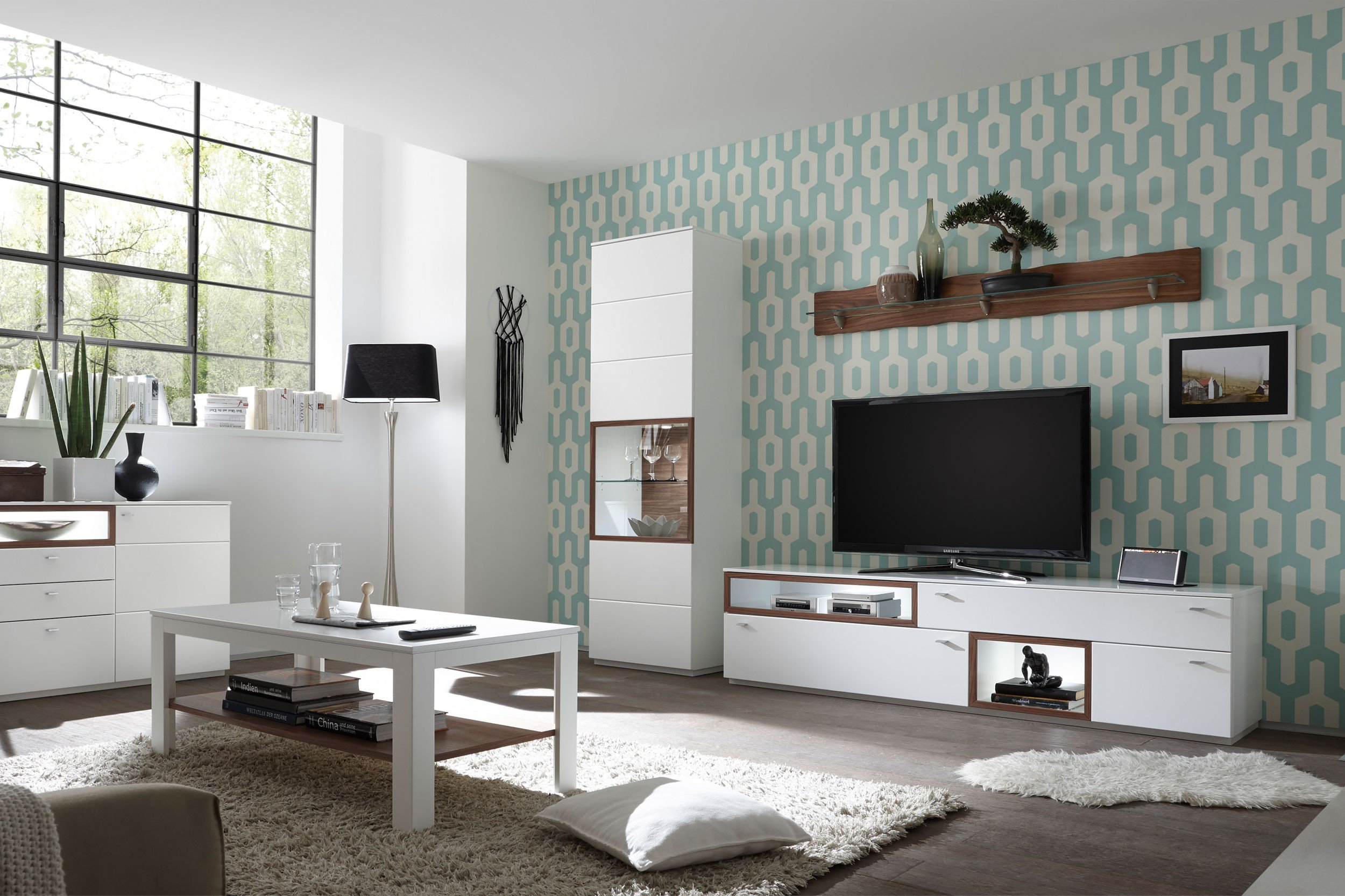 quadrato wohnwand milano wei und nussbaum m bel letz ihr online shop. Black Bedroom Furniture Sets. Home Design Ideas