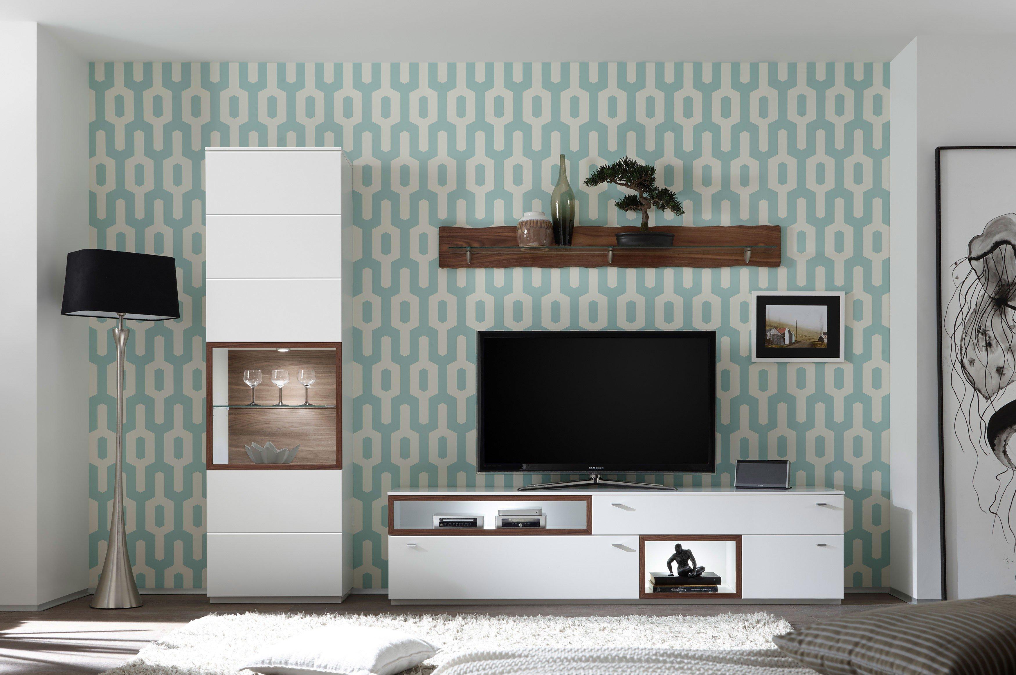 Milano Von Quadrato   Wohnwand Weiß Und Nussbaum