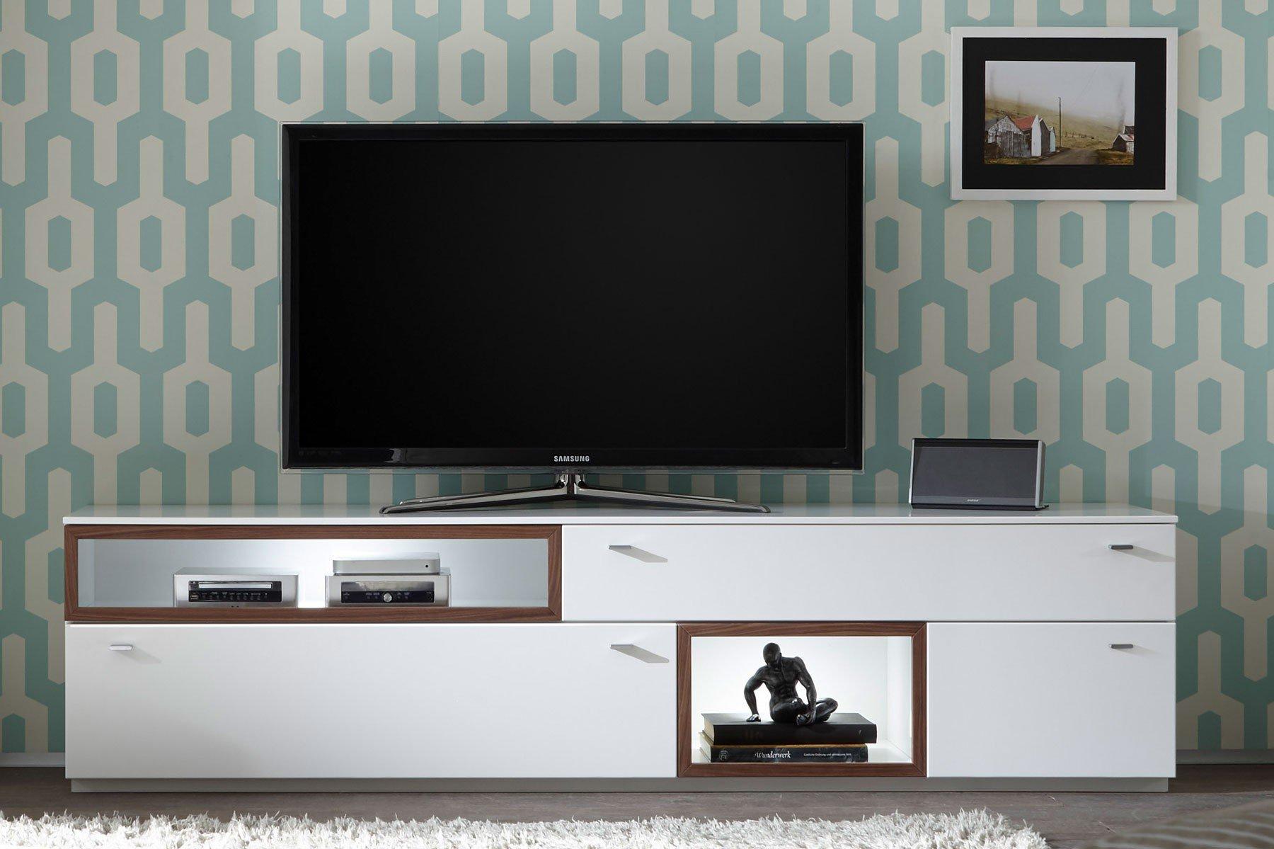 Quadrato Lowboard Milano weiß/ Nussbaum | Möbel Letz - Ihr Online-Shop