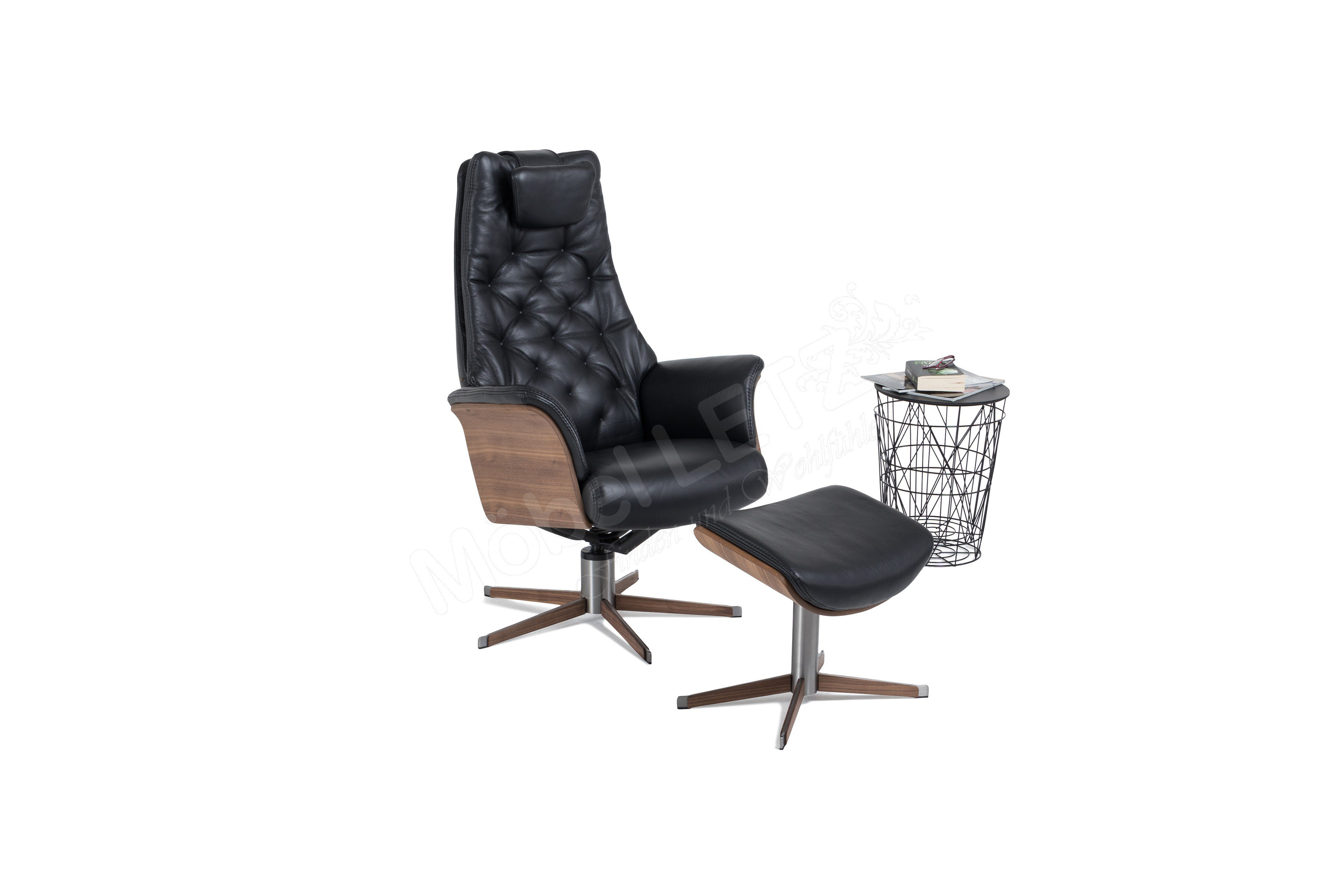 funktionssessel in schwarz mit rautensteppung inklusive hocker diamond bd m bel m bel letz. Black Bedroom Furniture Sets. Home Design Ideas