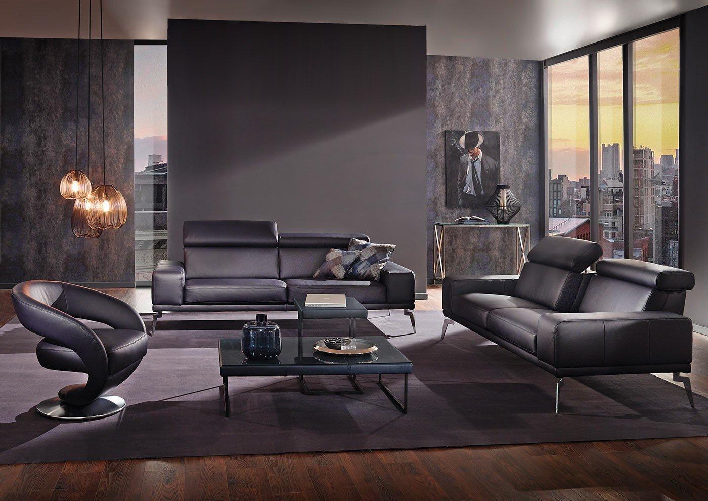k w polsterm bel angelina 7267 ledergarnitur in schwarz m bel letz ihr online shop. Black Bedroom Furniture Sets. Home Design Ideas