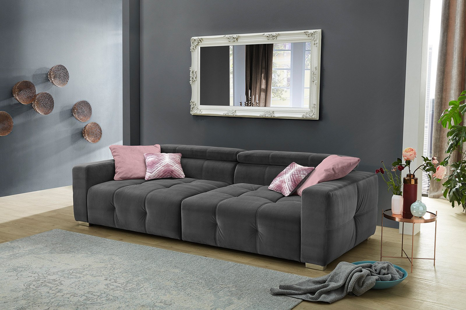 jockenh fer polsterm bel trento xxl sofa in grau m bel letz ihr online shop. Black Bedroom Furniture Sets. Home Design Ideas