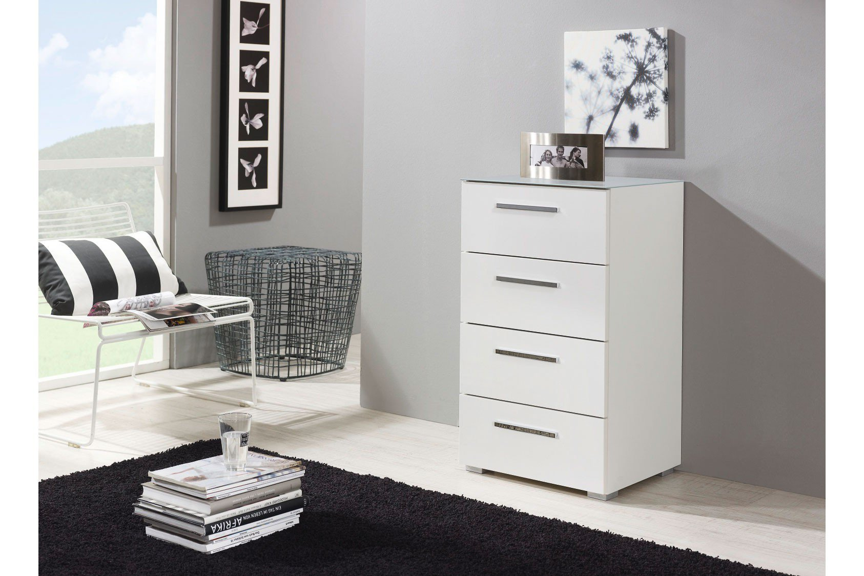 rauch solo schubkastenkommode wei glas m bel letz ihr online shop. Black Bedroom Furniture Sets. Home Design Ideas