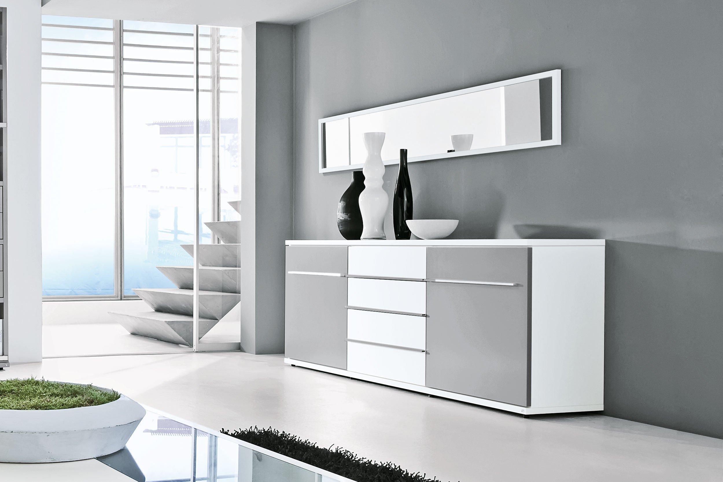 loddenkemper wohnwand kito 9820 grau wei m bel letz ihr online shop. Black Bedroom Furniture Sets. Home Design Ideas