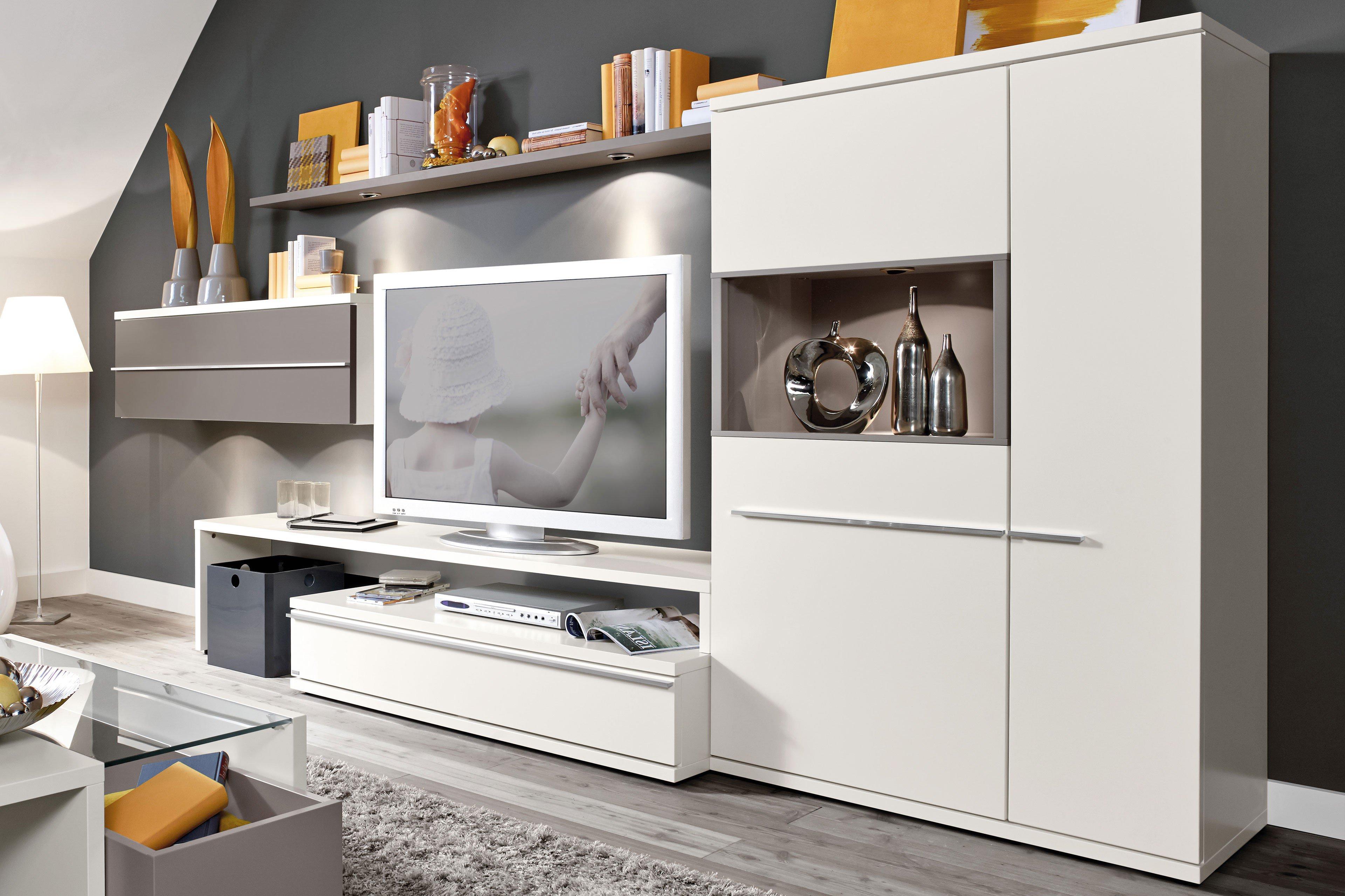 Kito Von Loddenkemper   Wohnwand 9861 Weiß/ Soft Grau