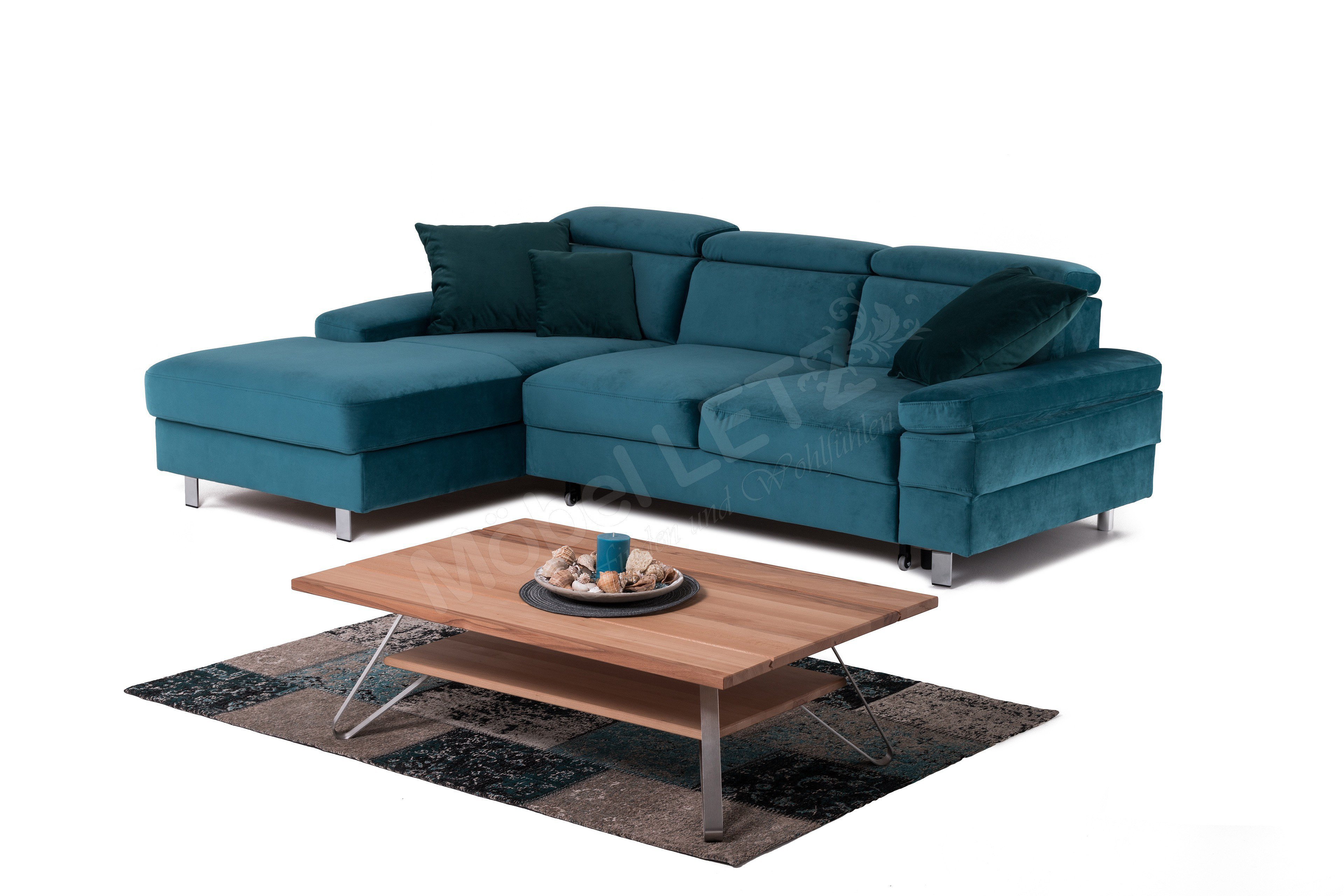 New Look Möbel Elvis Eckcouch in Blau | Möbel Letz - Ihr Online-Shop
