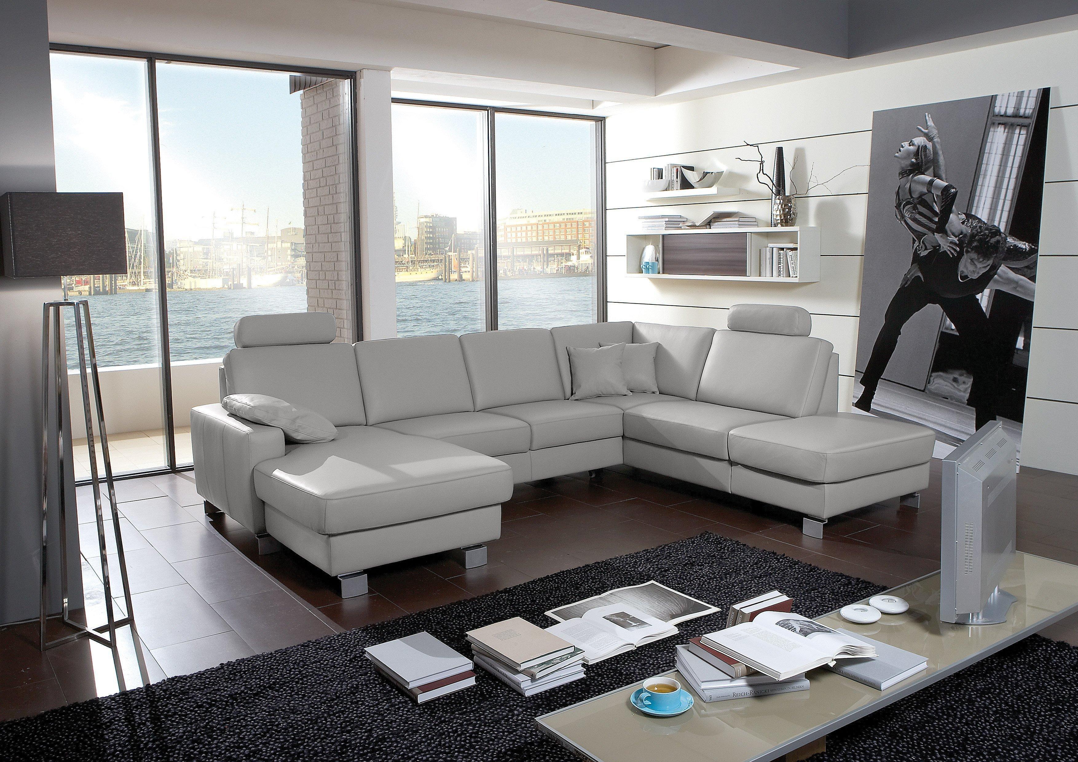 polinova amigo ledersofa grau m bel letz ihr online shop. Black Bedroom Furniture Sets. Home Design Ideas
