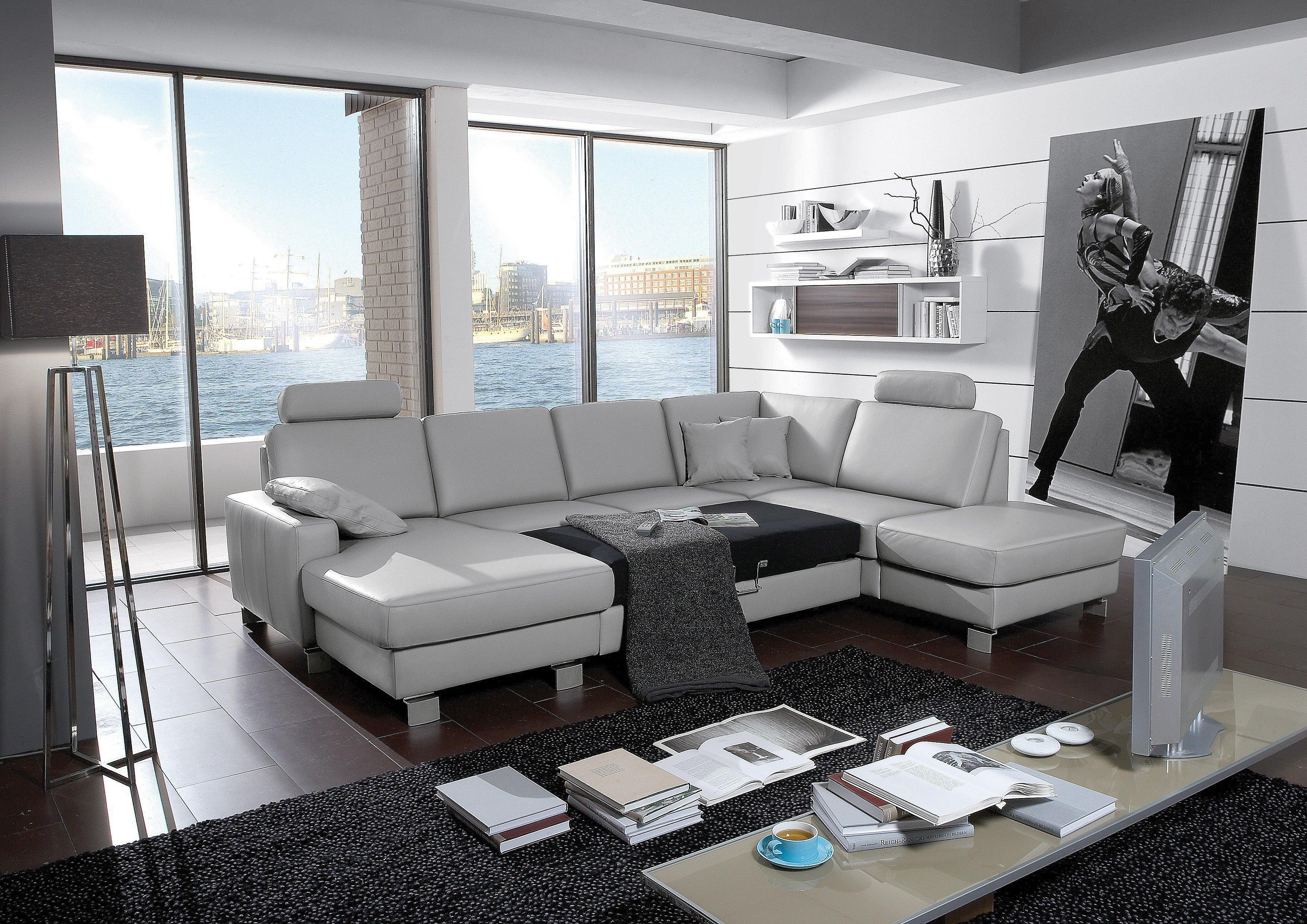 ledersofa grau. Black Bedroom Furniture Sets. Home Design Ideas
