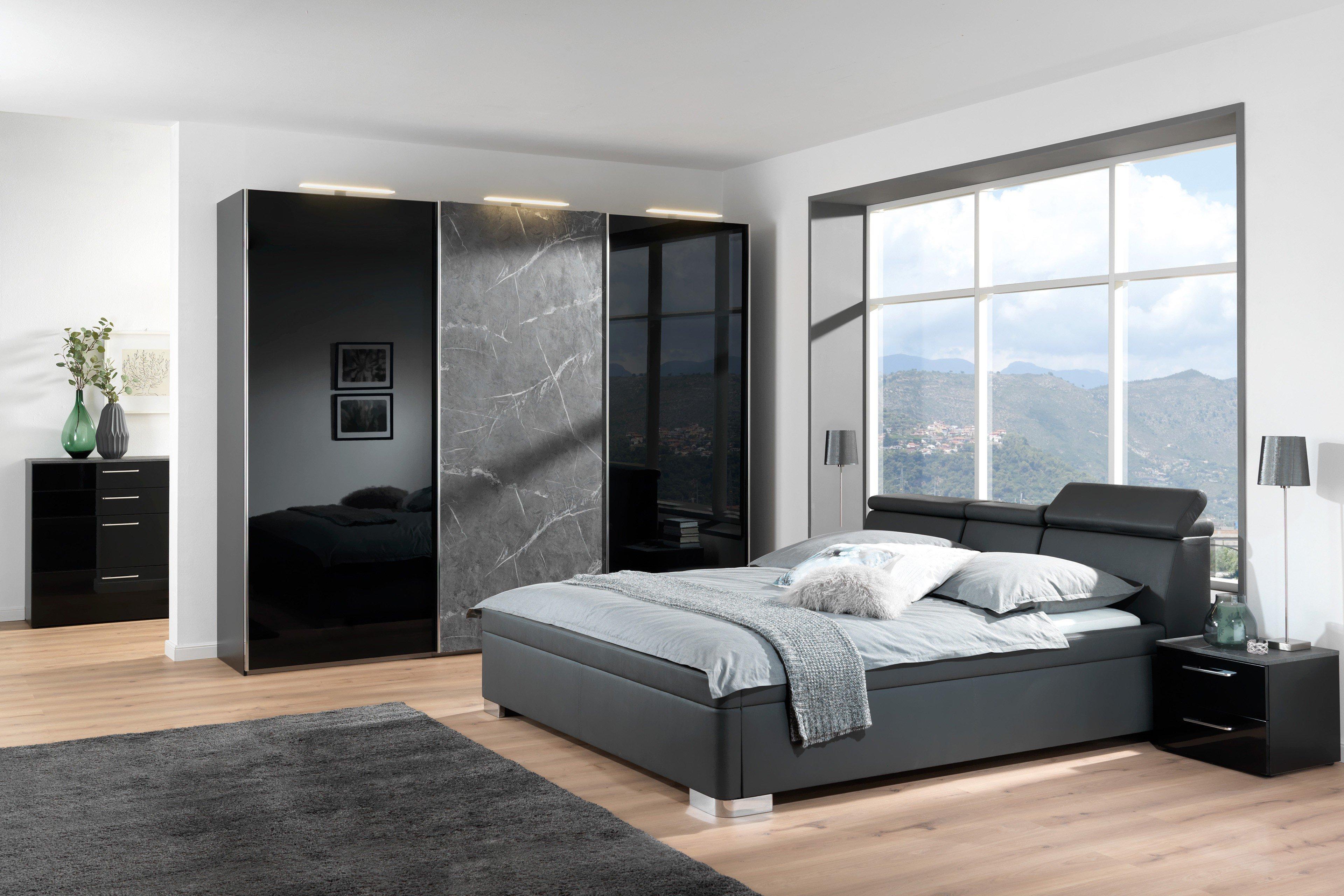 wellem bel nero schrank mood bett schwarz marmor m bel letz ihr online shop. Black Bedroom Furniture Sets. Home Design Ideas