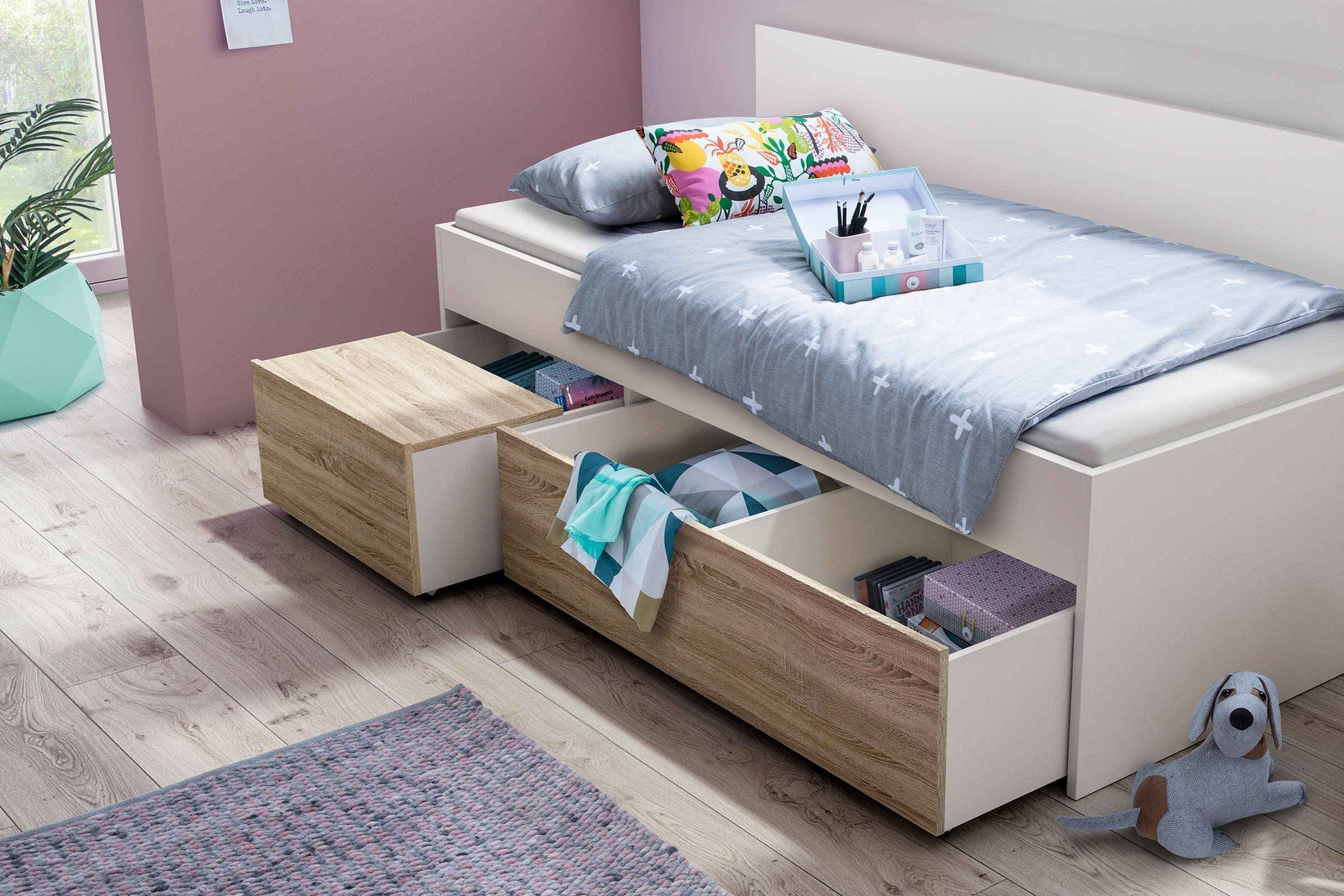 r hr bush pixxel bett mit funktion wei sonoma eiche m bel letz ihr online shop. Black Bedroom Furniture Sets. Home Design Ideas
