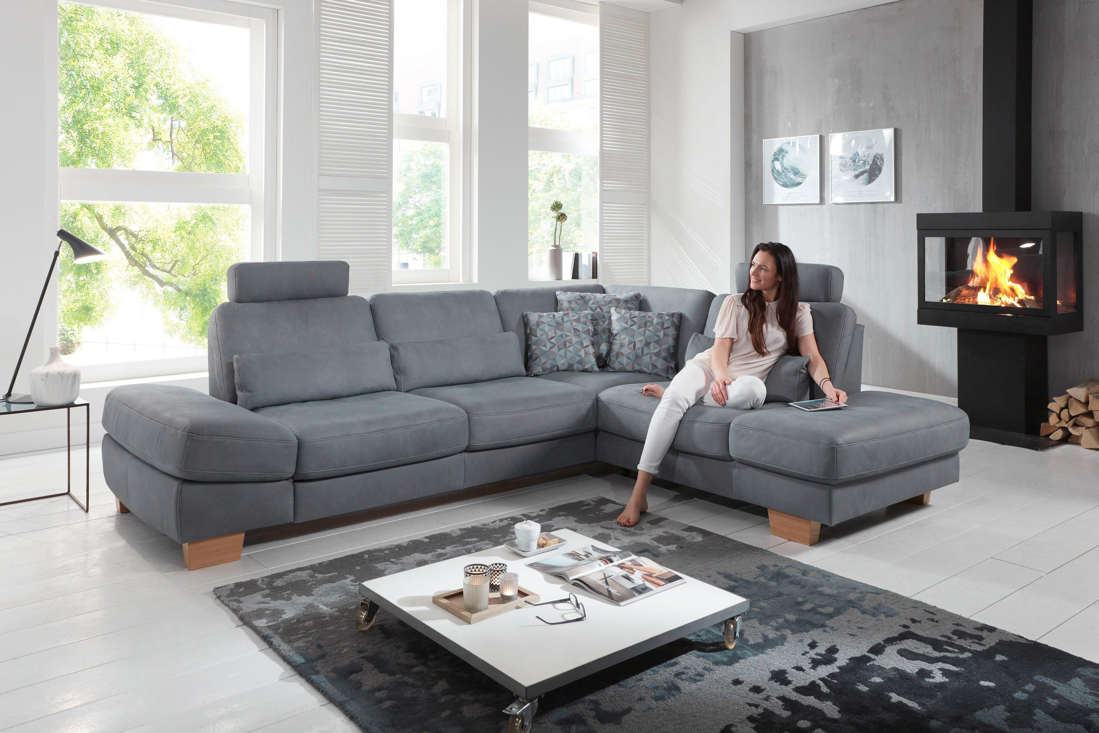 Polinova Bellamonte Ledergarnitur in Grau | Möbel Letz - Ihr Online-Shop