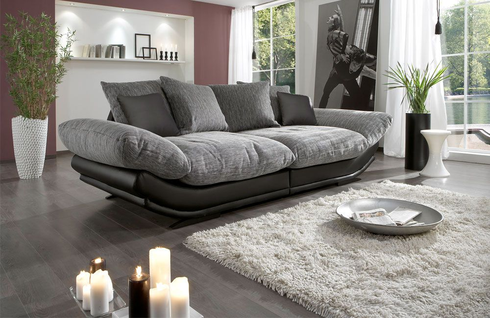 new look m bel rose megasofa grau schwarz m bel letz ihr online shop. Black Bedroom Furniture Sets. Home Design Ideas