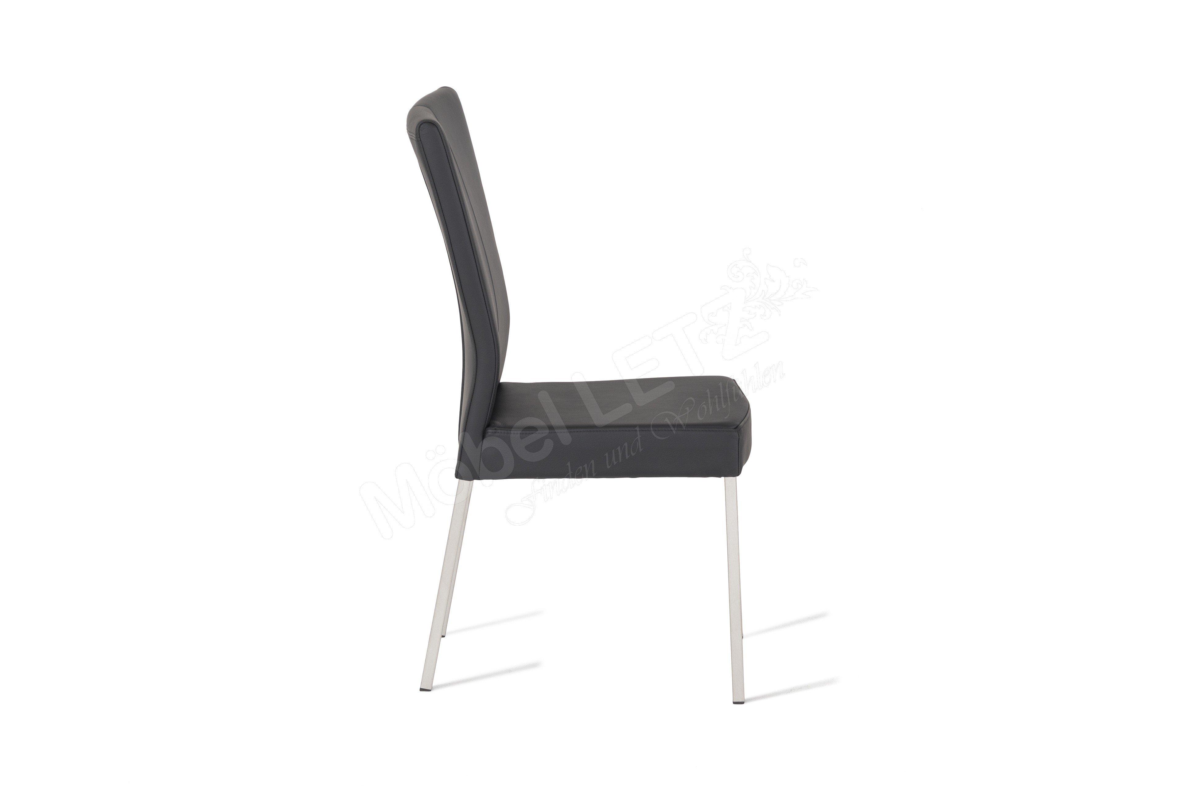 Carega design stuhl mark leder nero m bel letz ihr for Design stuhl leder edelstahl