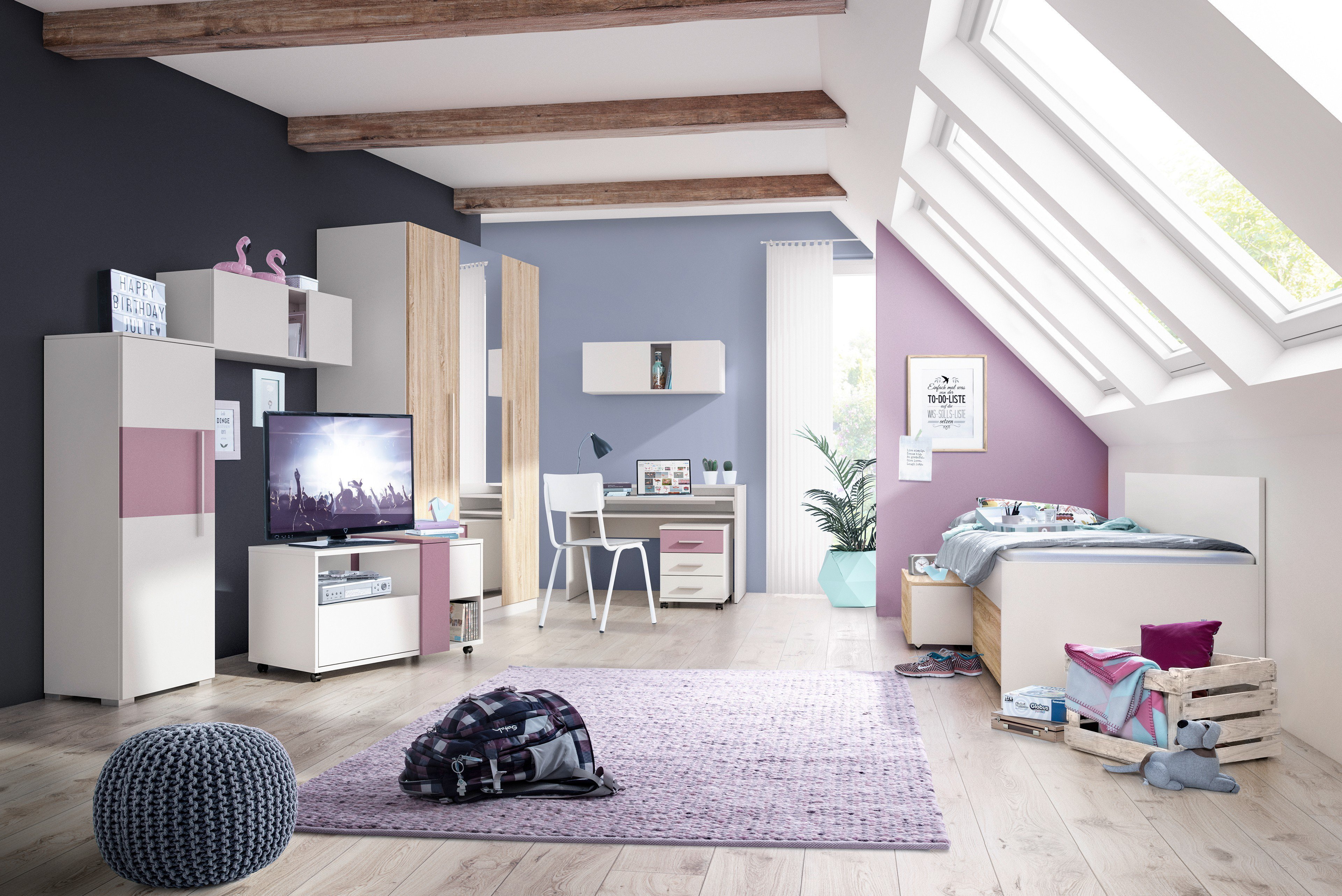 pixxel Jugendzimmer von Röhr - weiß/ Sonoma-Eiche   Möbel Letz - Ihr ...