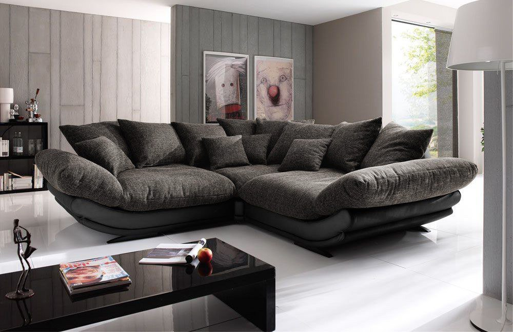 new look m bel rose ecksofa in schwarz braun m bel letz ihr online shop. Black Bedroom Furniture Sets. Home Design Ideas