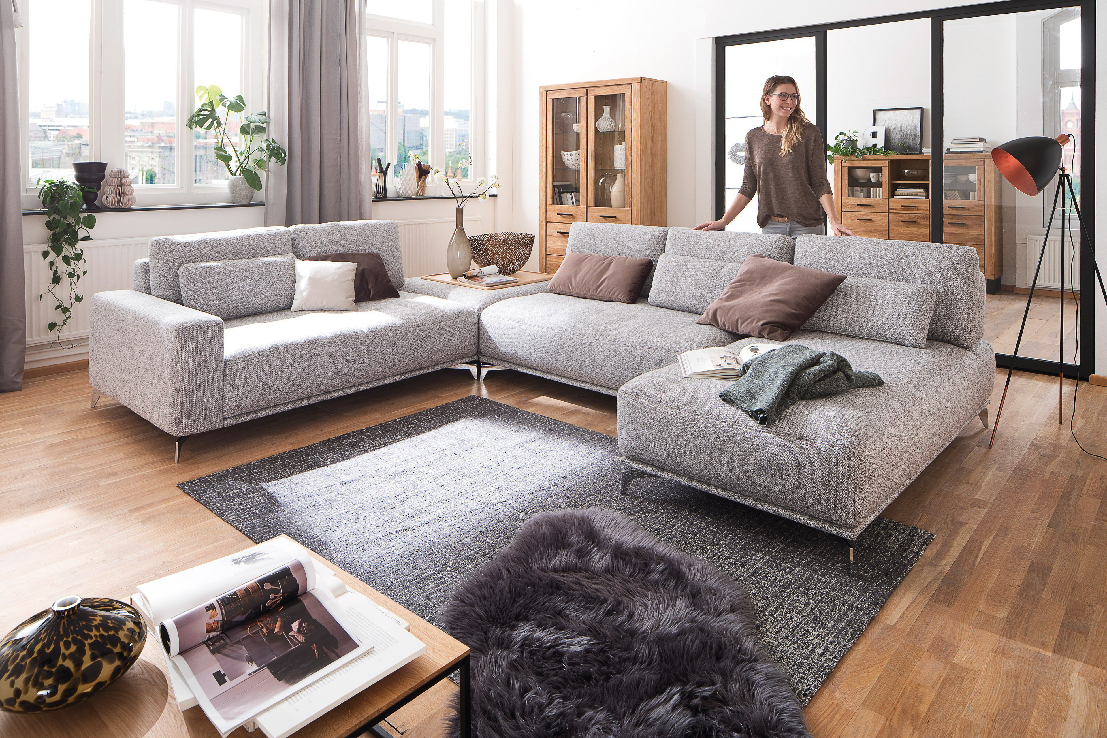 poco polsterm bel salerno xxl sofa in creme m bel letz ihr online shop. Black Bedroom Furniture Sets. Home Design Ideas