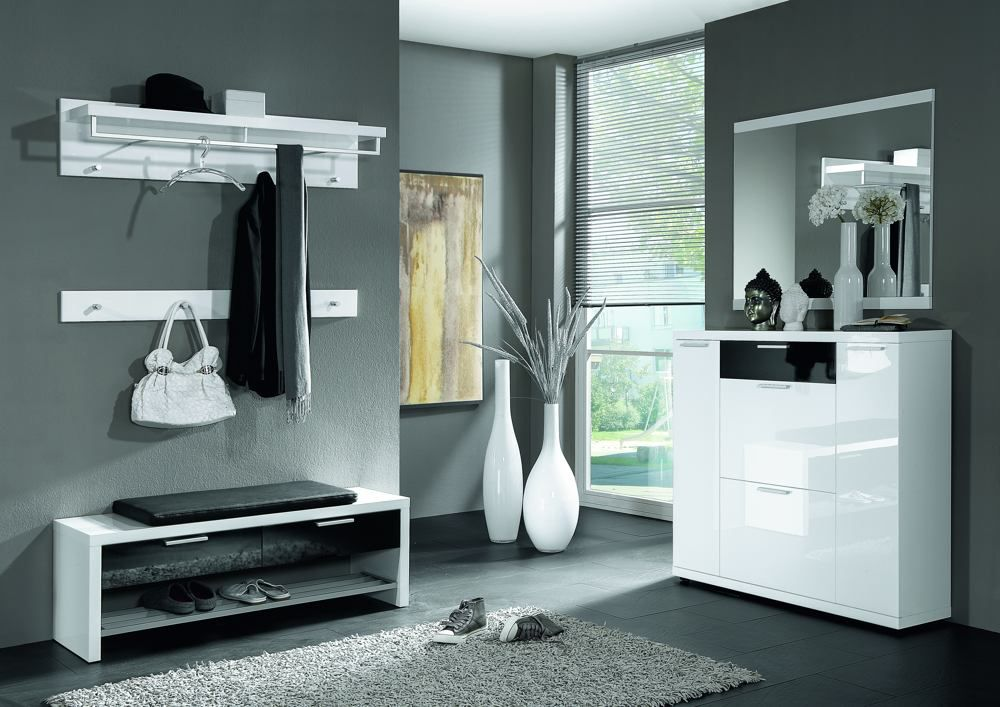 garderobe lagos hochglanz wei schwarz von voss m bel letz ihr online shop. Black Bedroom Furniture Sets. Home Design Ideas