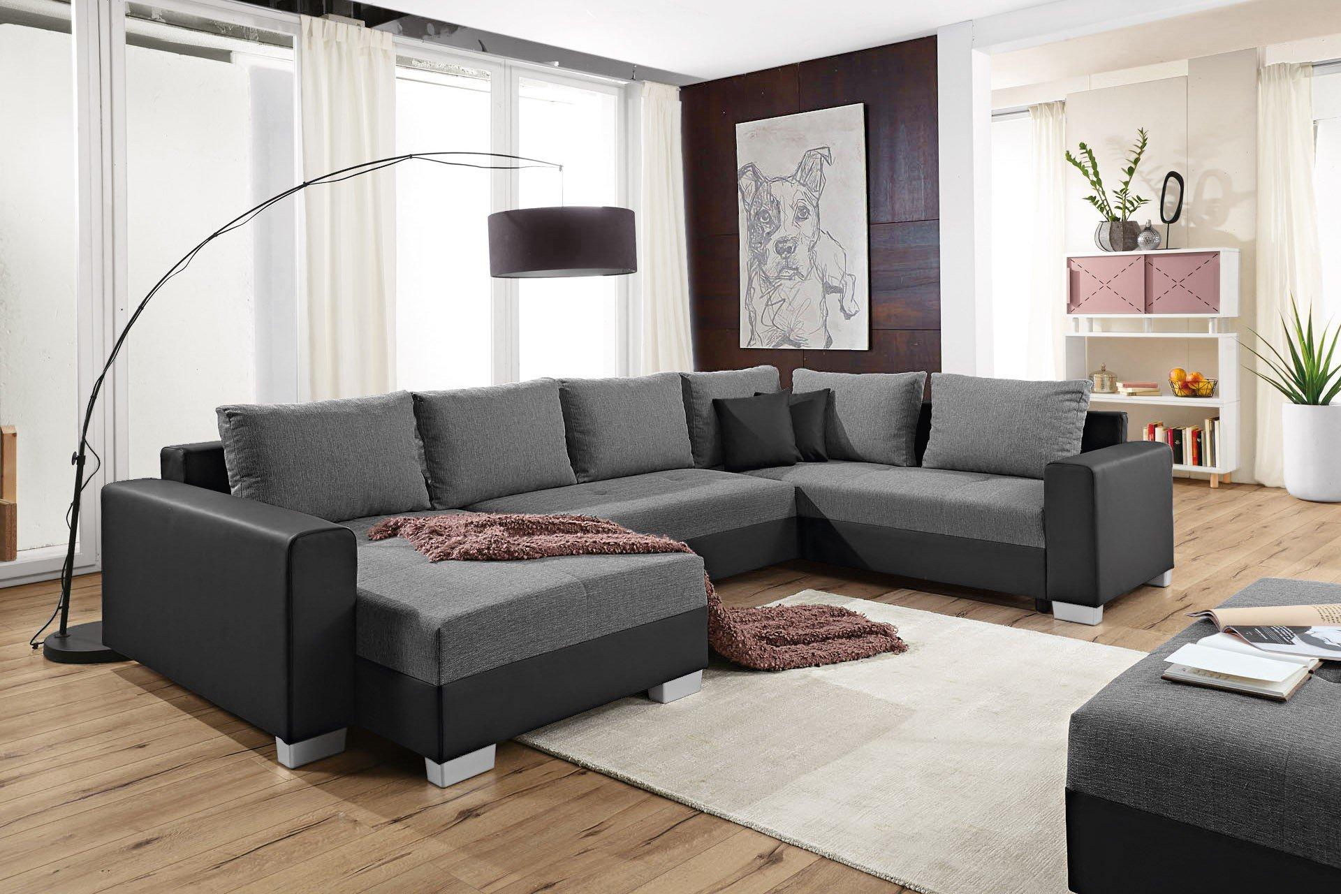 reality largo sofalandschaft grau schwarz m bel letz. Black Bedroom Furniture Sets. Home Design Ideas