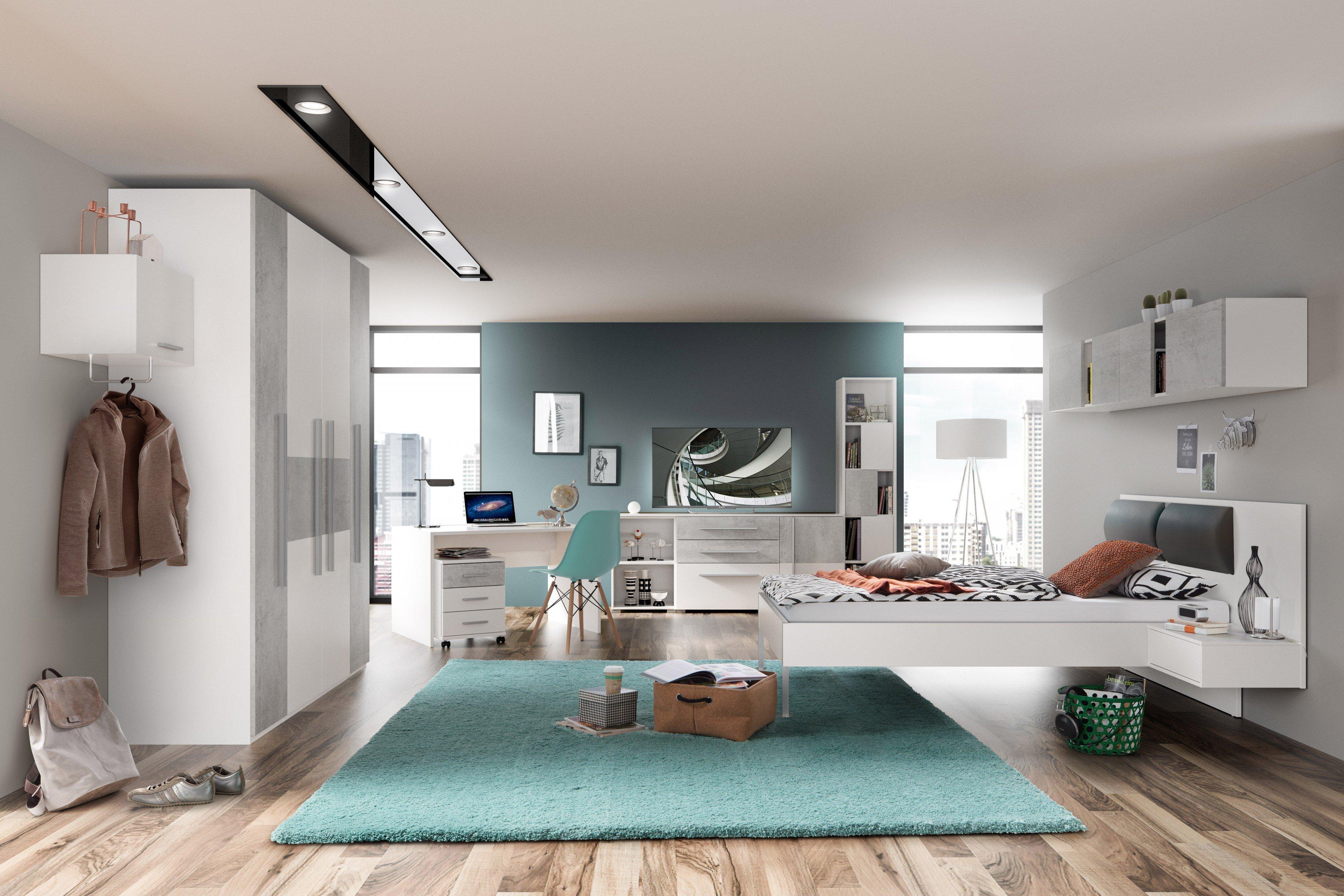 jugendzimmer m bel von r hr wei beton optik m bel letz ihr online shop. Black Bedroom Furniture Sets. Home Design Ideas