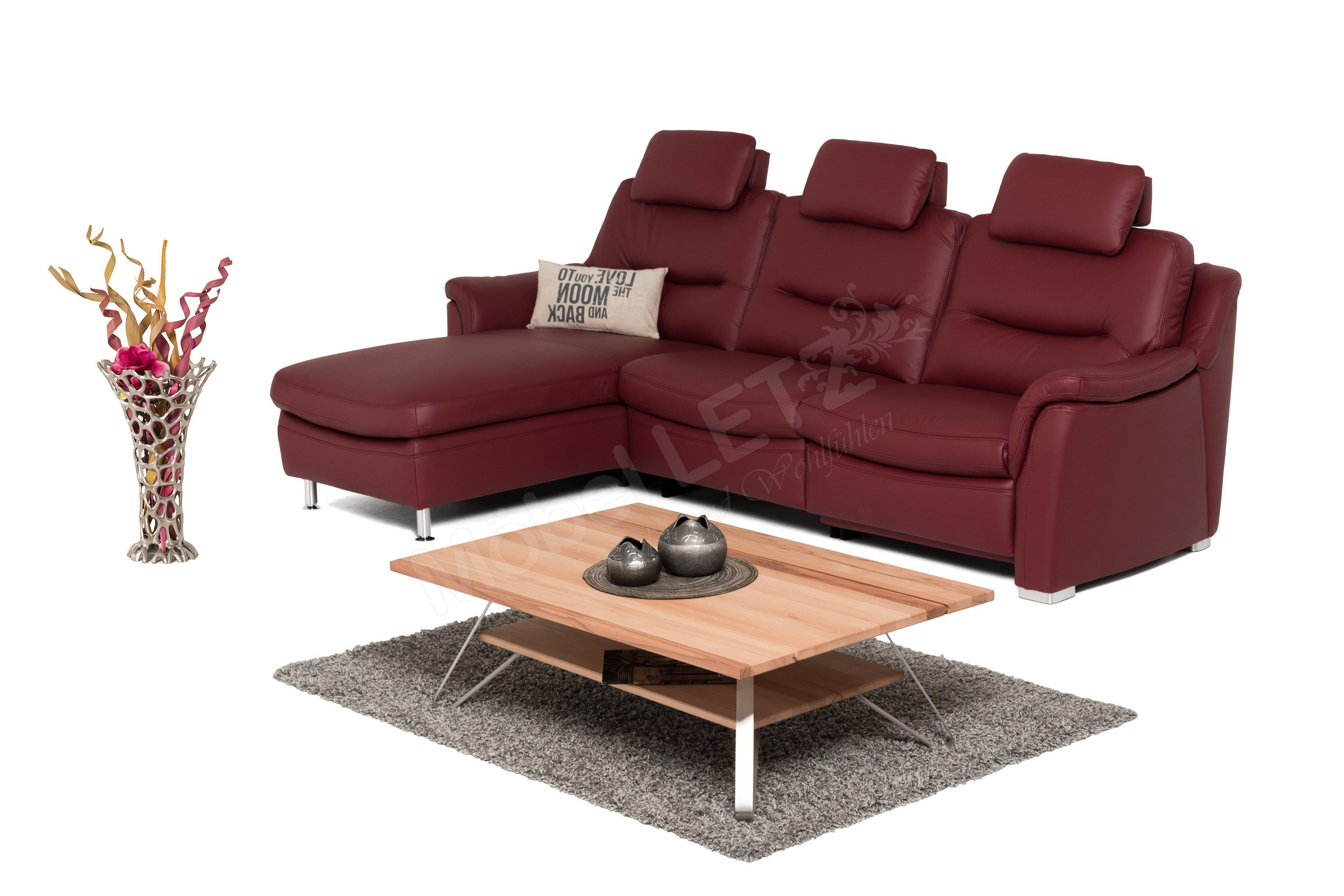 Hollywood Von Hukla   Ledersofa Variante Links Rot