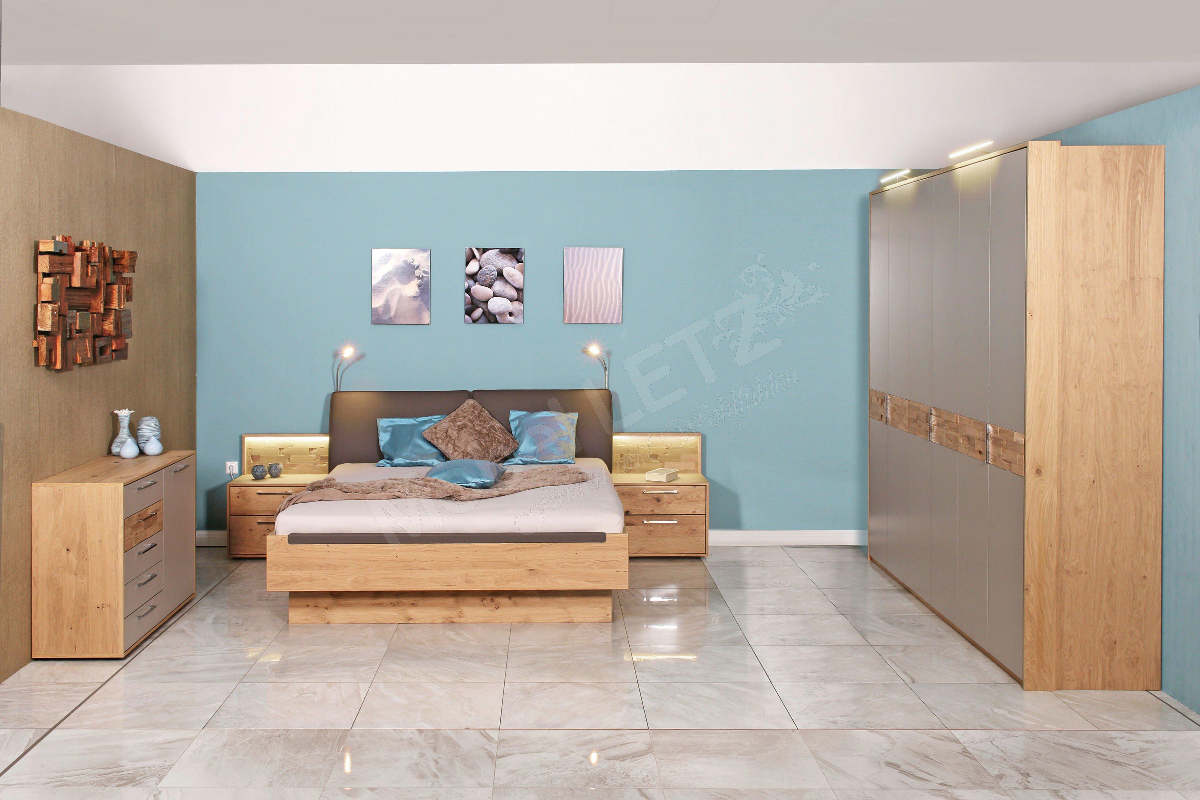 Capena Von Casada   Komplett Schlafzimmer Balkeneiche   Taupe