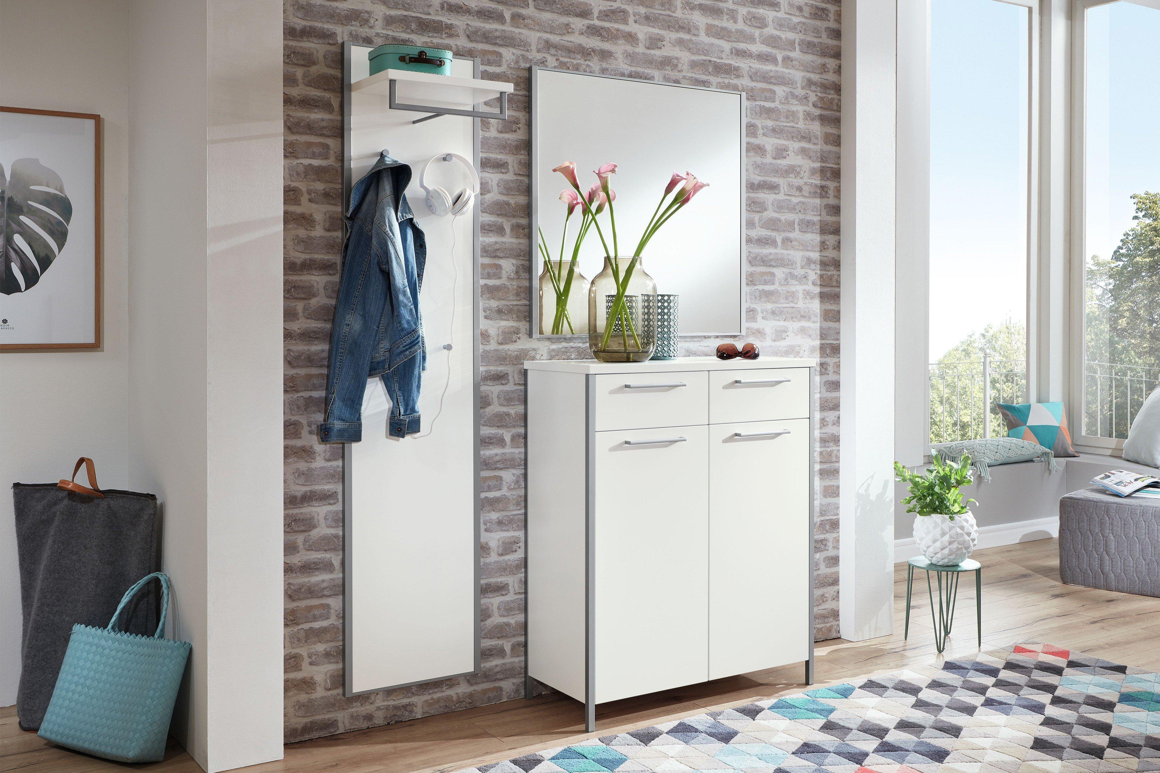 voss garderobe limana lack wei mit kommode spiegel. Black Bedroom Furniture Sets. Home Design Ideas