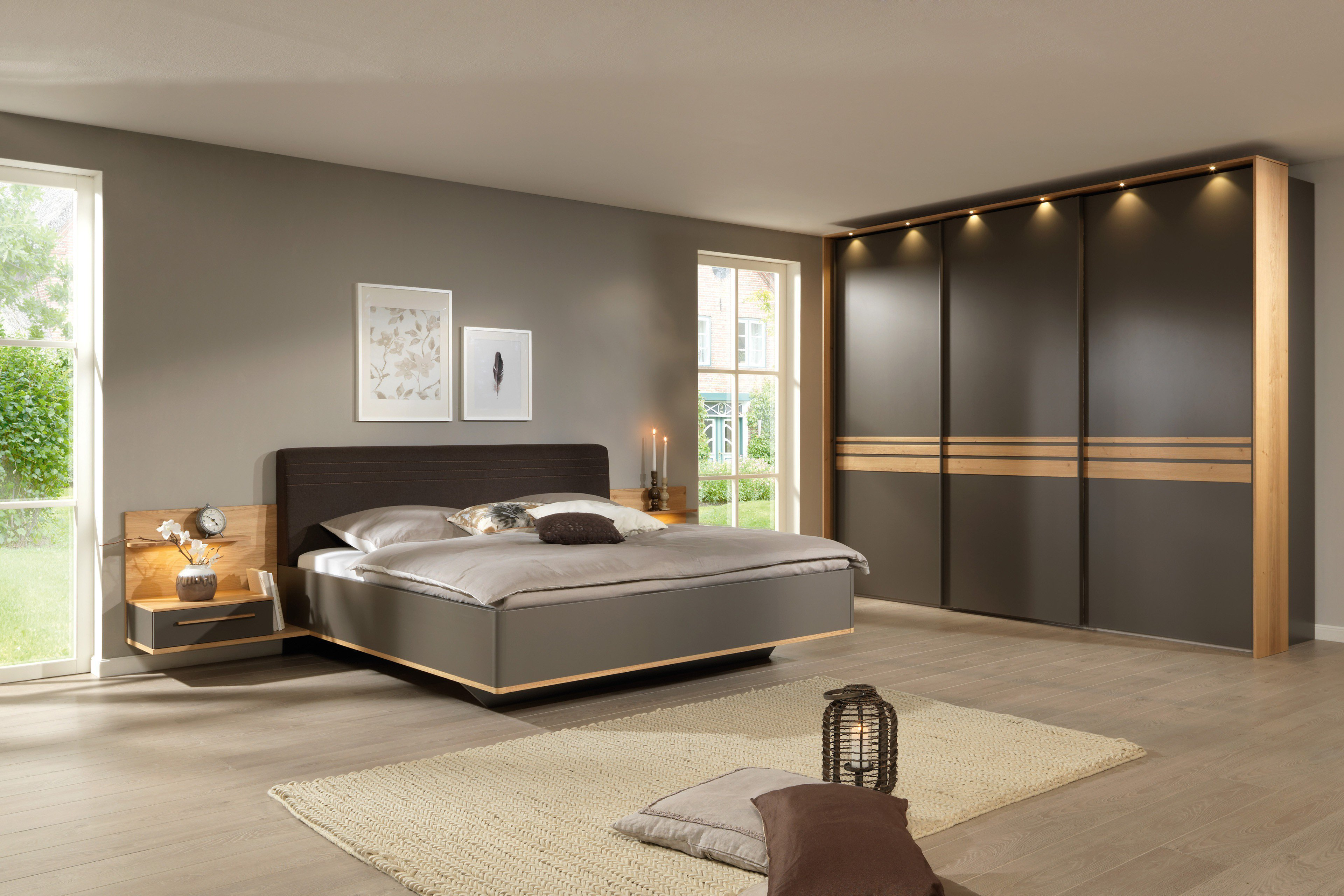 Welle Natura Schlafzimmer lava matt mit Eichenholz | Möbel Letz ...
