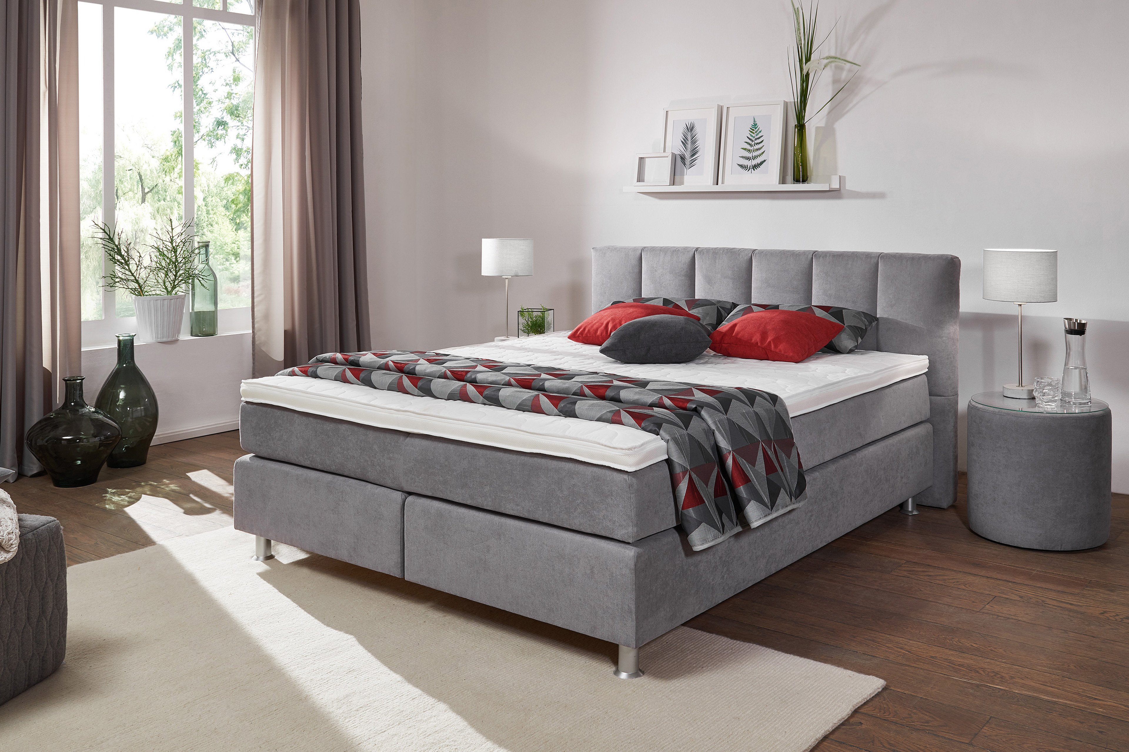 oschmann easy good belcanto boxspringbett in grau m bel letz ihr online shop. Black Bedroom Furniture Sets. Home Design Ideas