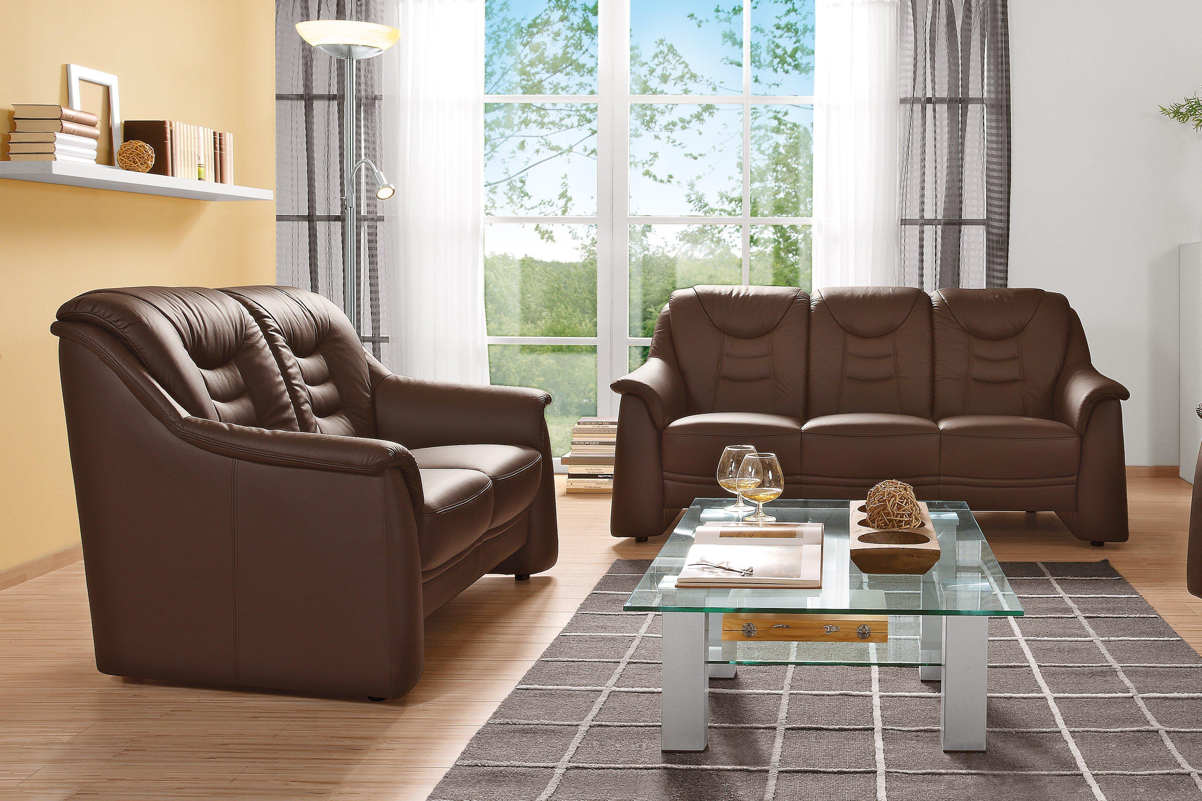gruber polsterm bel cora ledergarnitur in braun m bel. Black Bedroom Furniture Sets. Home Design Ideas