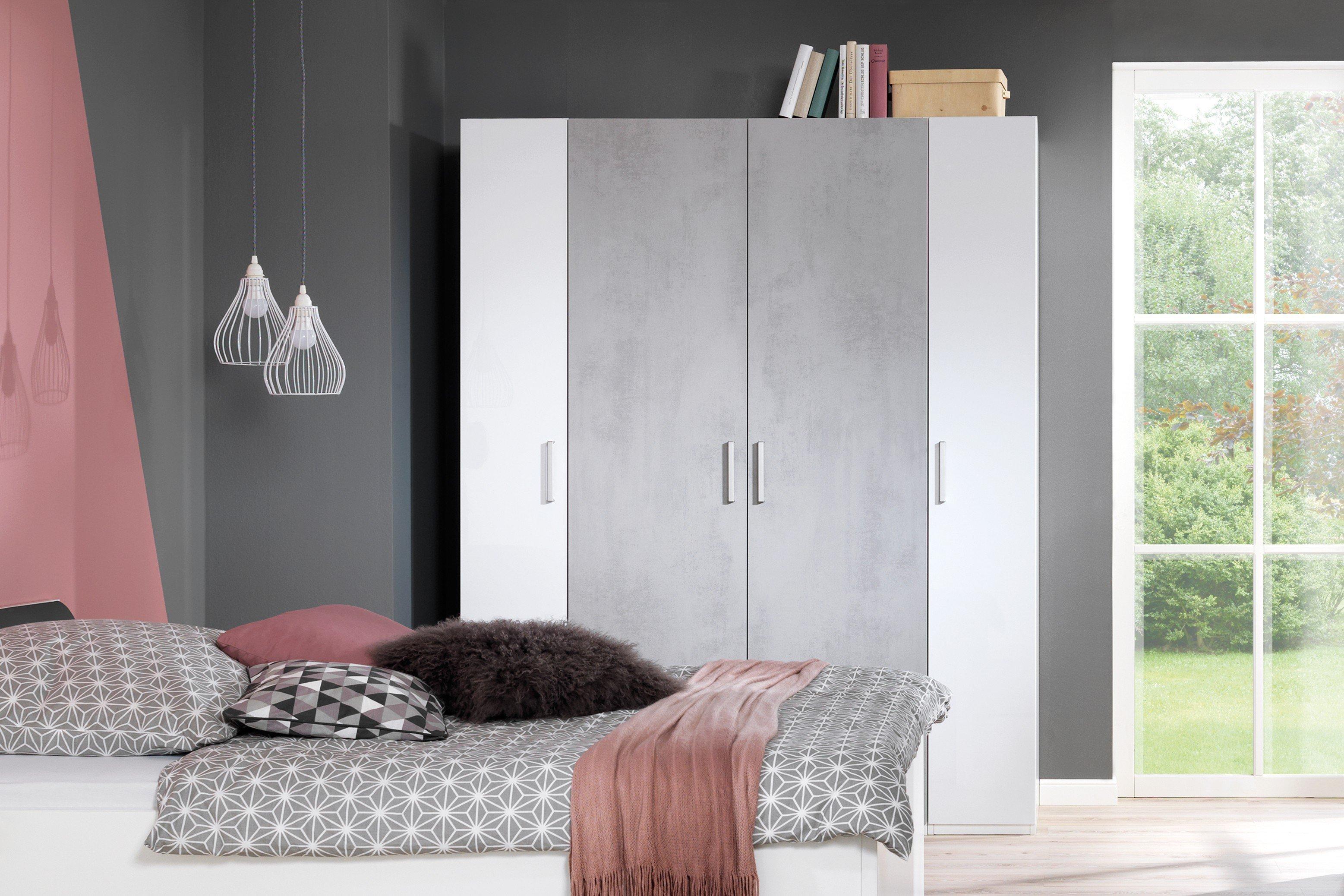Wellemöbel Kleiderschrank KSW 2.0 Beton-Optik - weiß | Möbel Letz ...
