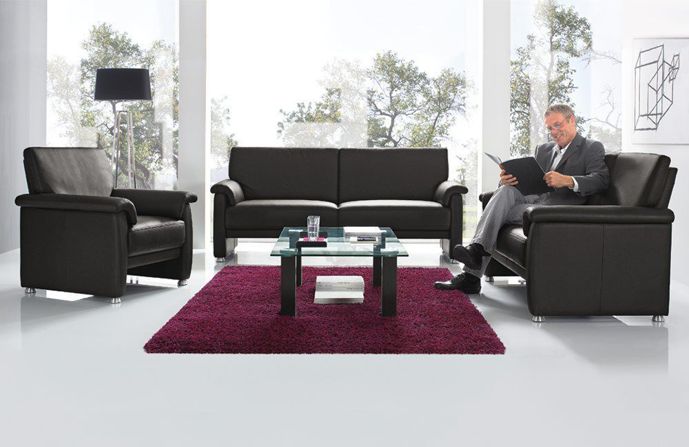 gruber polsterm bel cosmos ledersofa in schwarz m bel letz ihr online shop. Black Bedroom Furniture Sets. Home Design Ideas