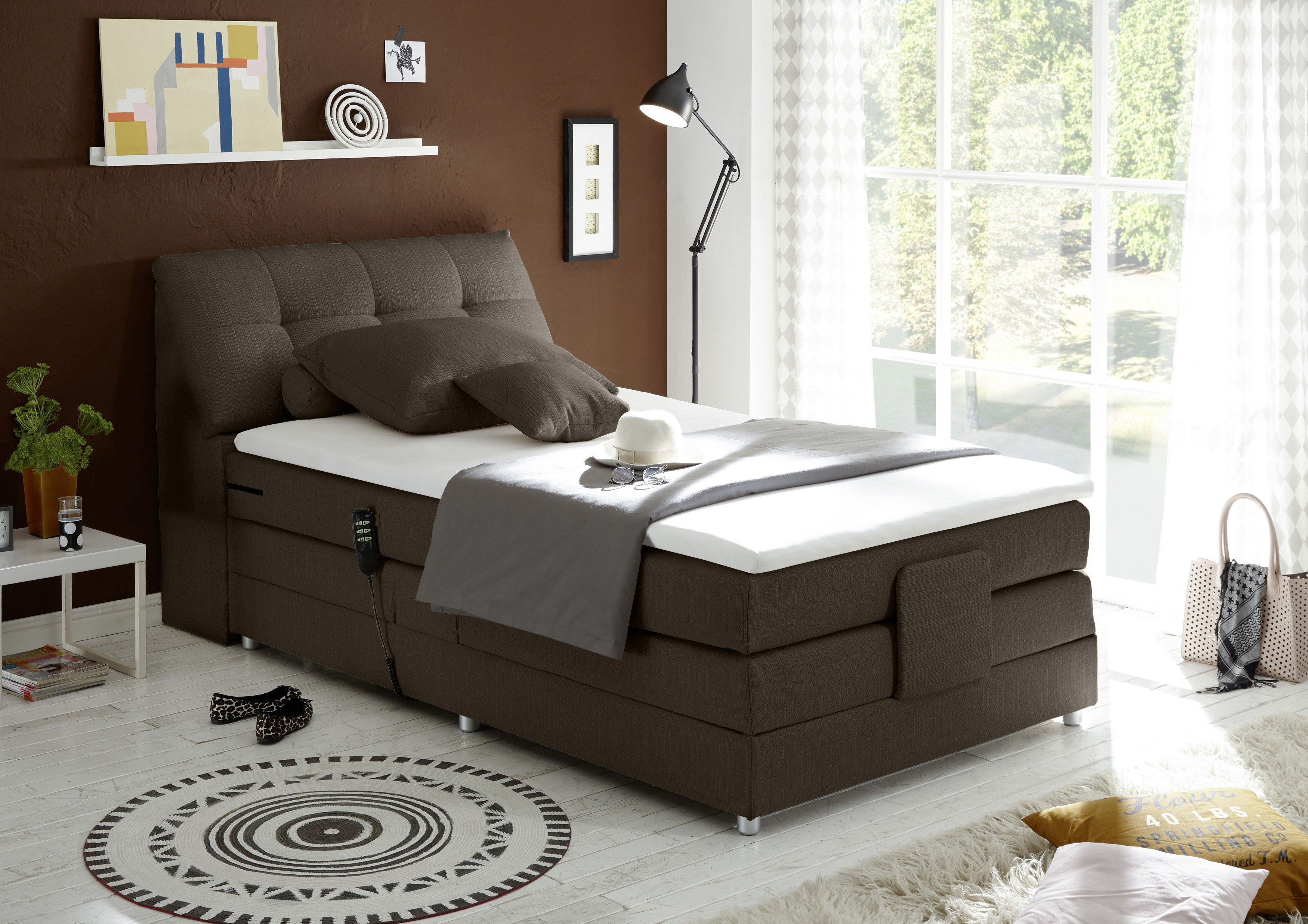boxspringbett black red white concord annabell mit motor m bel letz ihr online shop. Black Bedroom Furniture Sets. Home Design Ideas