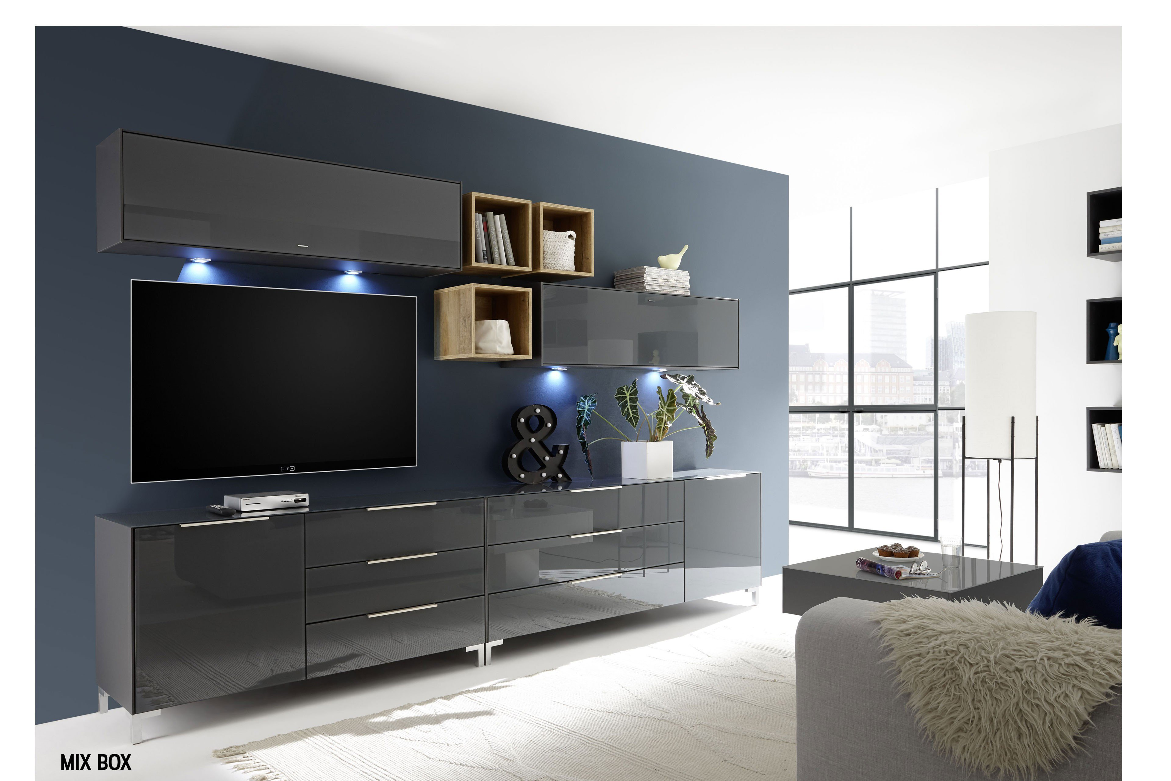 wohnwand mix box in anthrazit matt lack von m usbacher m bel letz ihr online shop. Black Bedroom Furniture Sets. Home Design Ideas