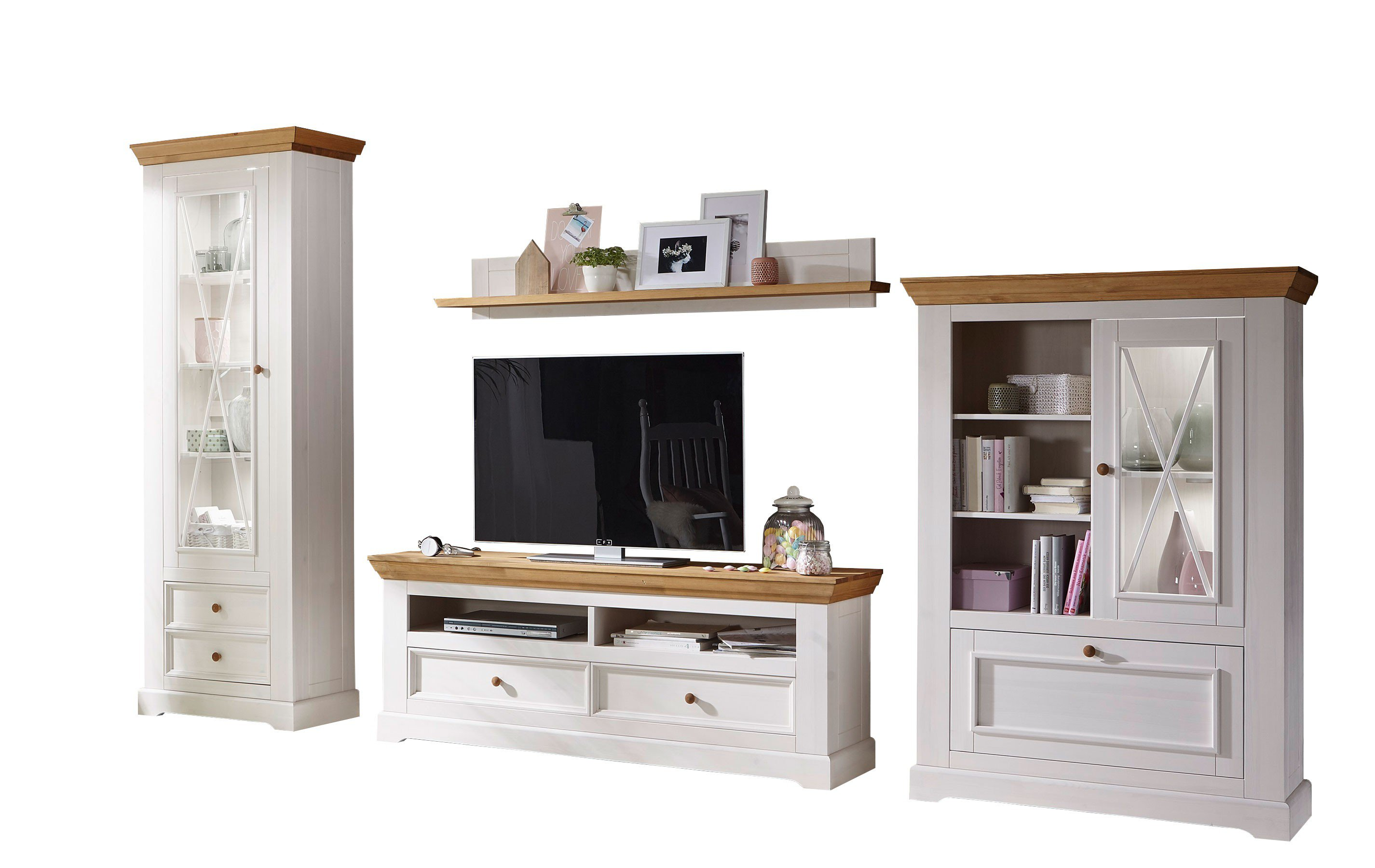 gk m belvertrieb wz 0133 wohnwand w2 kiefer glas m bel letz ihr online shop. Black Bedroom Furniture Sets. Home Design Ideas