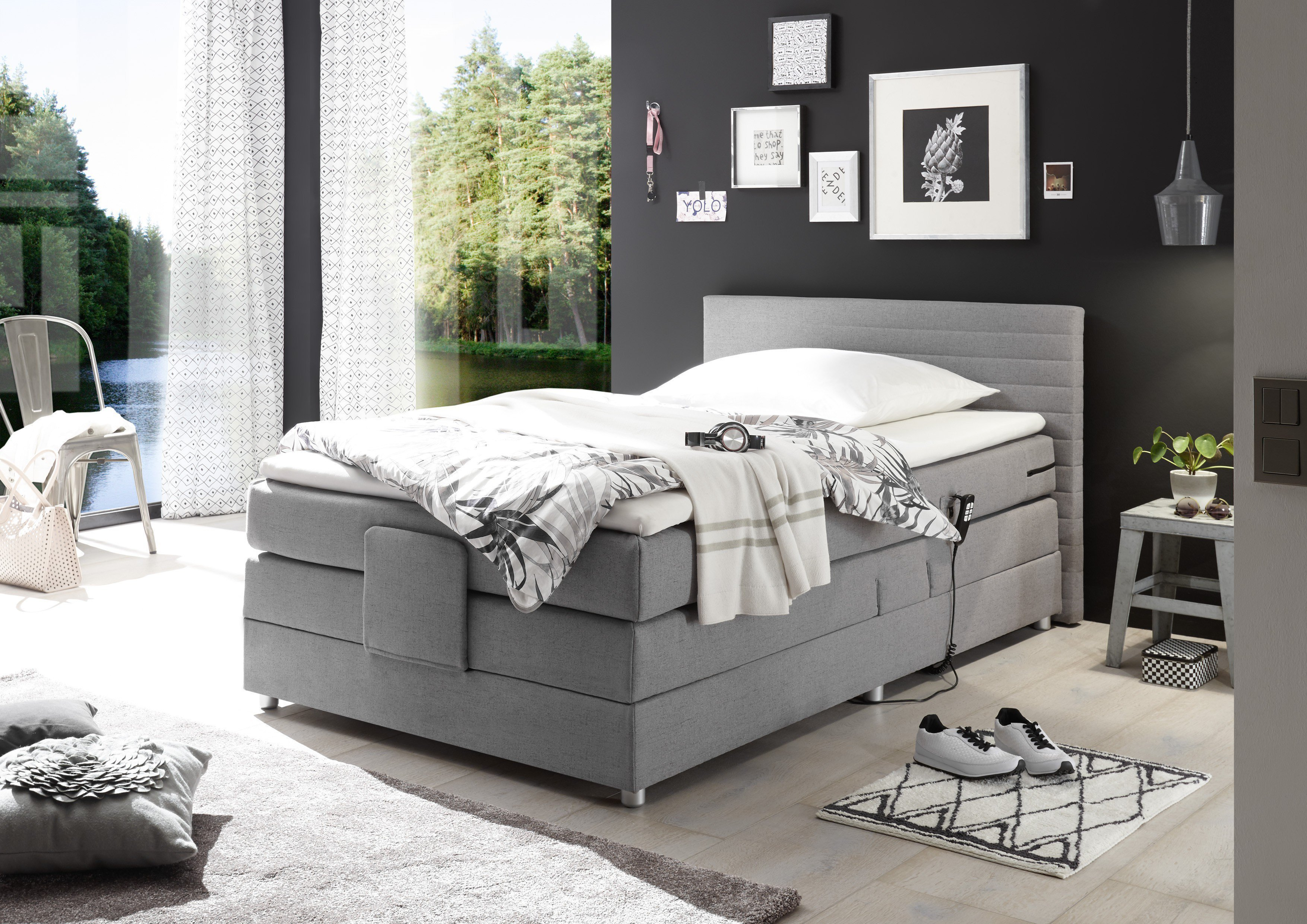 black red white boxspringbett carmen ca 100 x 200 cm m bel letz ihr online shop. Black Bedroom Furniture Sets. Home Design Ideas