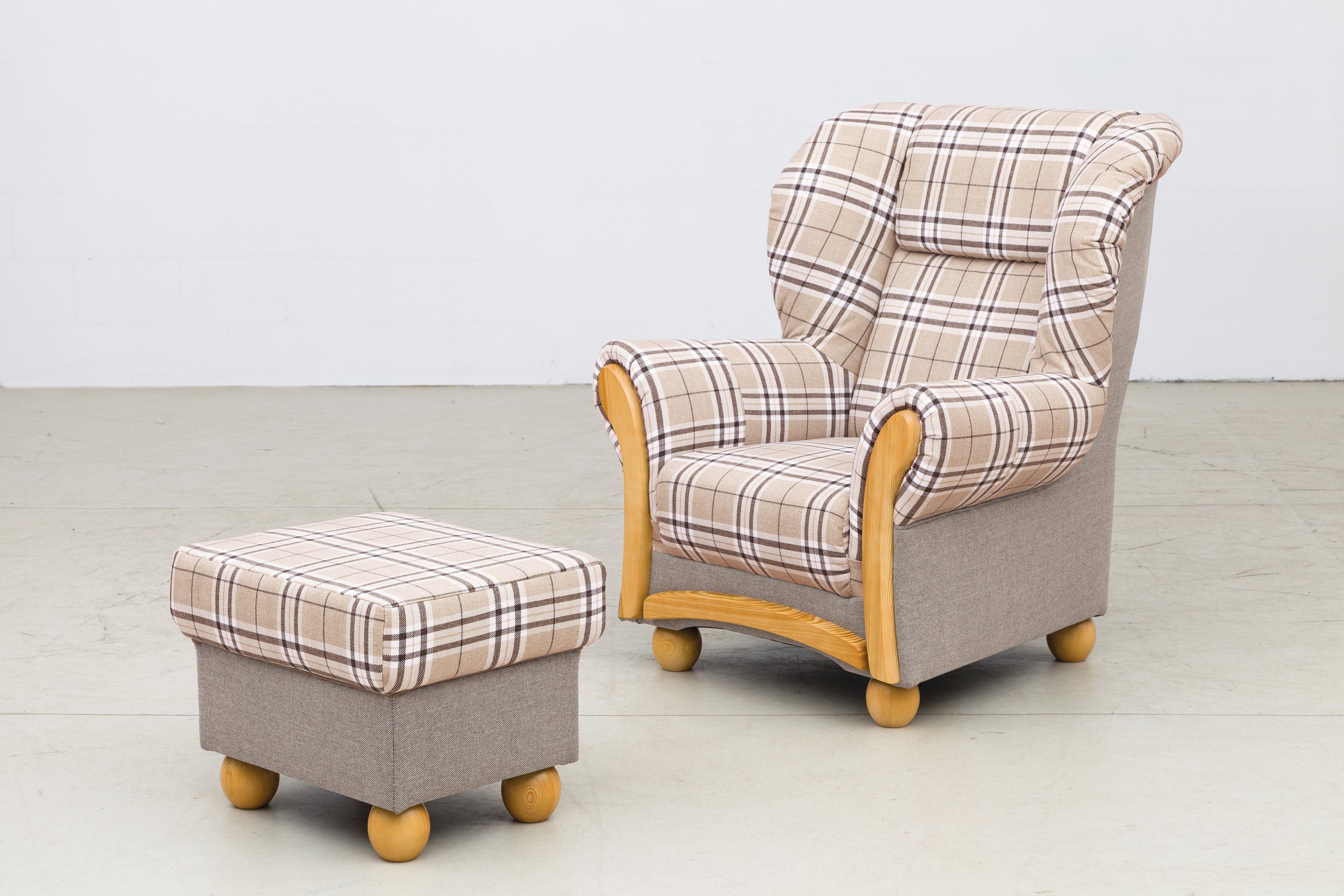 Grant Factory Wera Sessel Beige Braun Kariert Möbel Letz Ihr