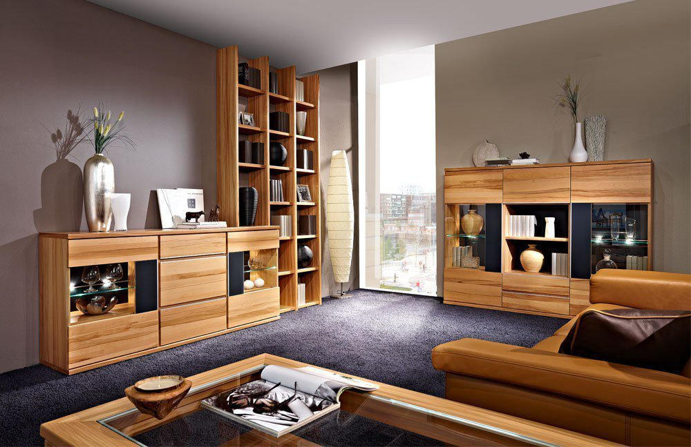 wohnwand living aus kernbuche von schr der m bel m bel. Black Bedroom Furniture Sets. Home Design Ideas