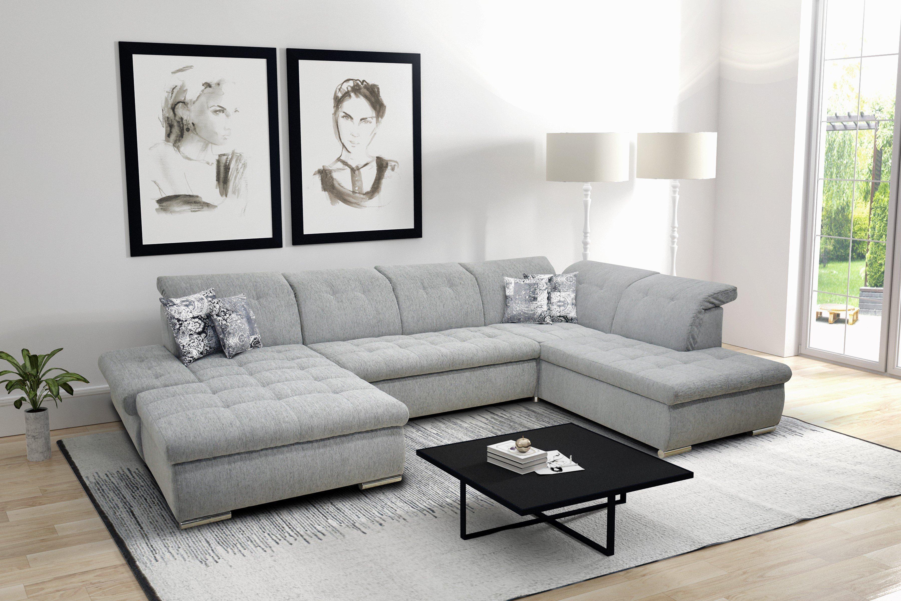 Domo Collection Faria Wohnlandschaft grau | Möbel Letz - Ihr Online-Shop