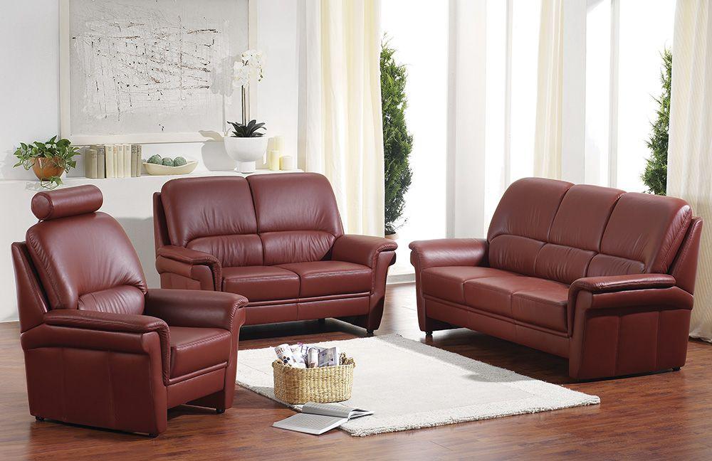 ledergarnitur carat rubinrot von casada m bel letz ihr online shop. Black Bedroom Furniture Sets. Home Design Ideas